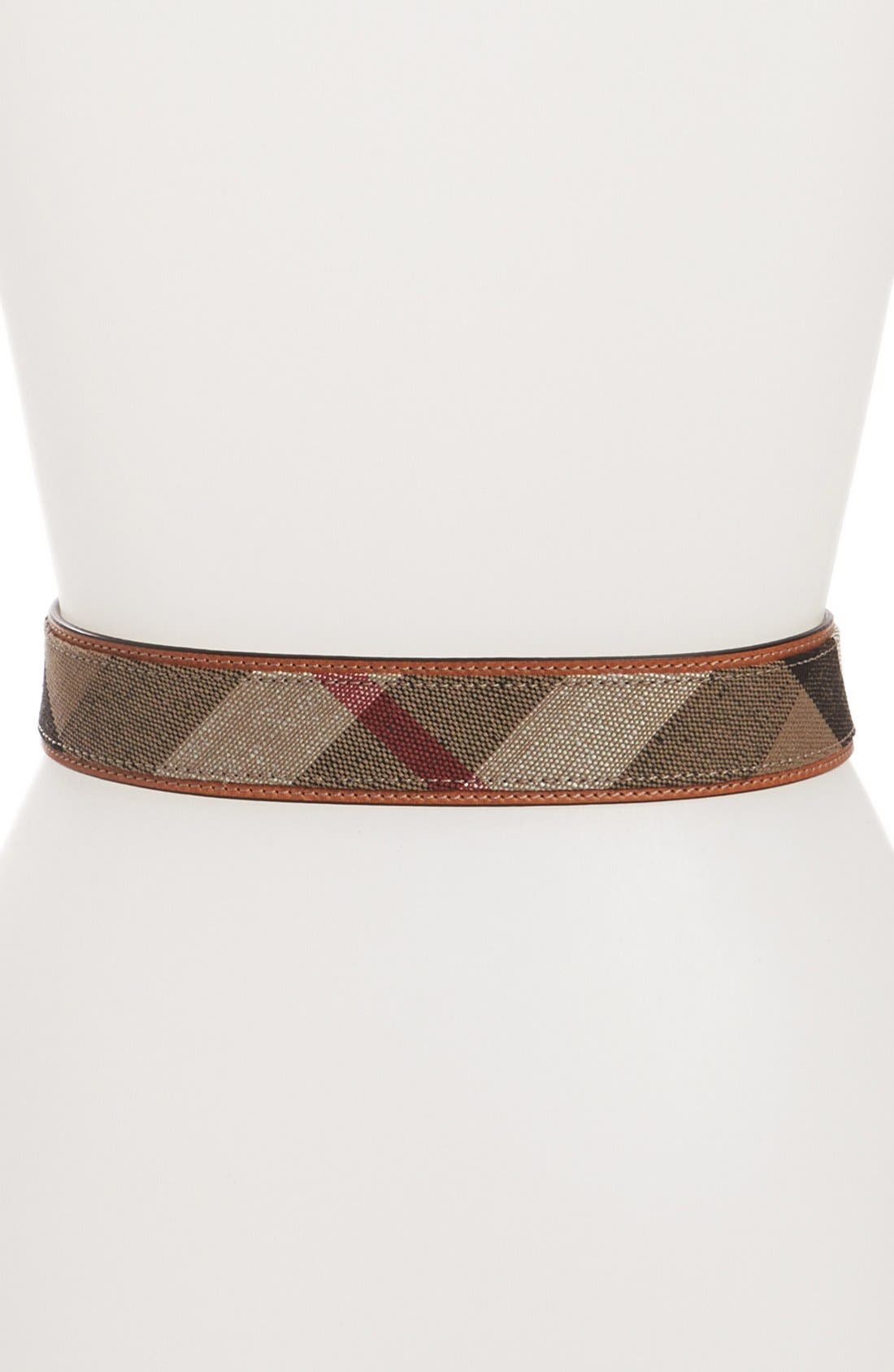 Alternate Image 2  - Burberry Check Leather Trim Belt