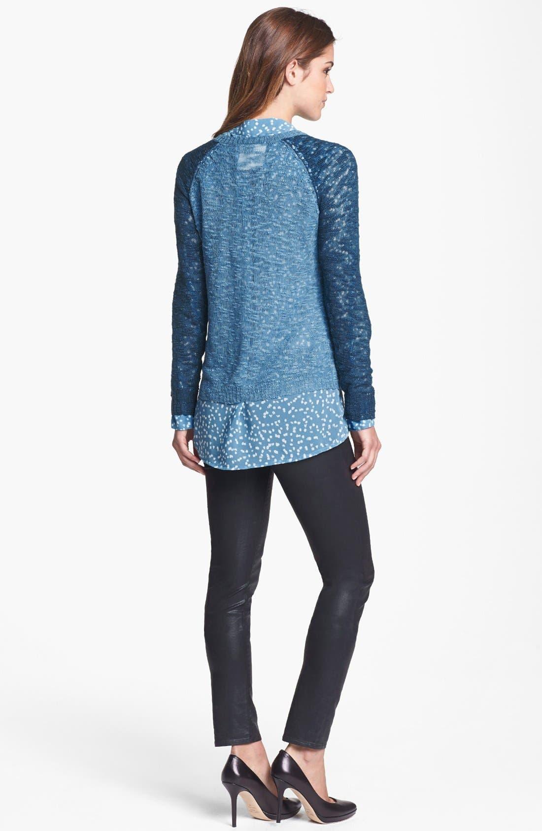 Alternate Image 2  - kensie Contrast Sleeve Burnout Sweater