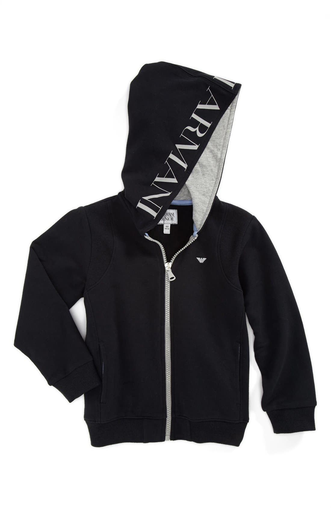 Main Image - Armani Junior Hooded Sweatshirt (Toddler Boys)