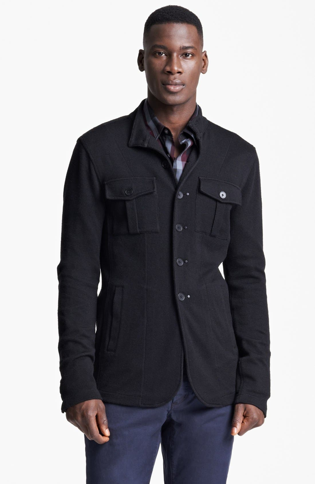 Alternate Image 1 Selected - John Varvatos Star USA Luxe Fit Double Knit Shirt Sweater