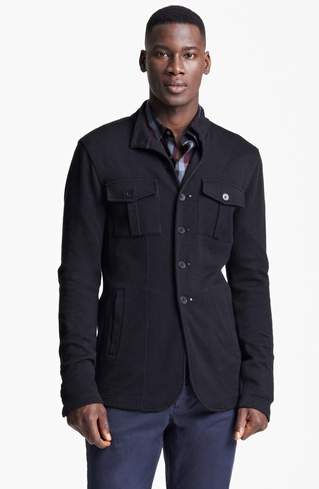 Main Image - John Varvatos Star USA Luxe Fit Double Knit Shirt Sweater