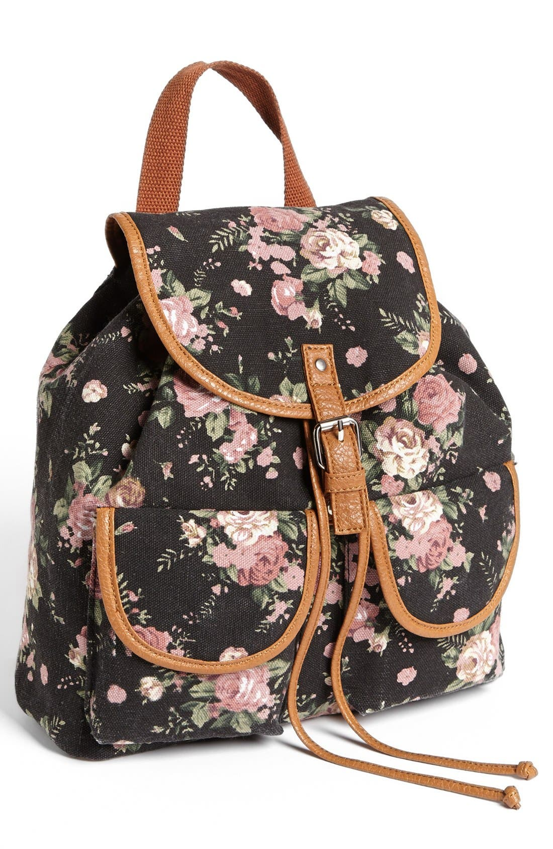 Alternate Image 1 Selected - Amici Accessories Rose Print Canvas Backpack (Juniors) (Online Only)