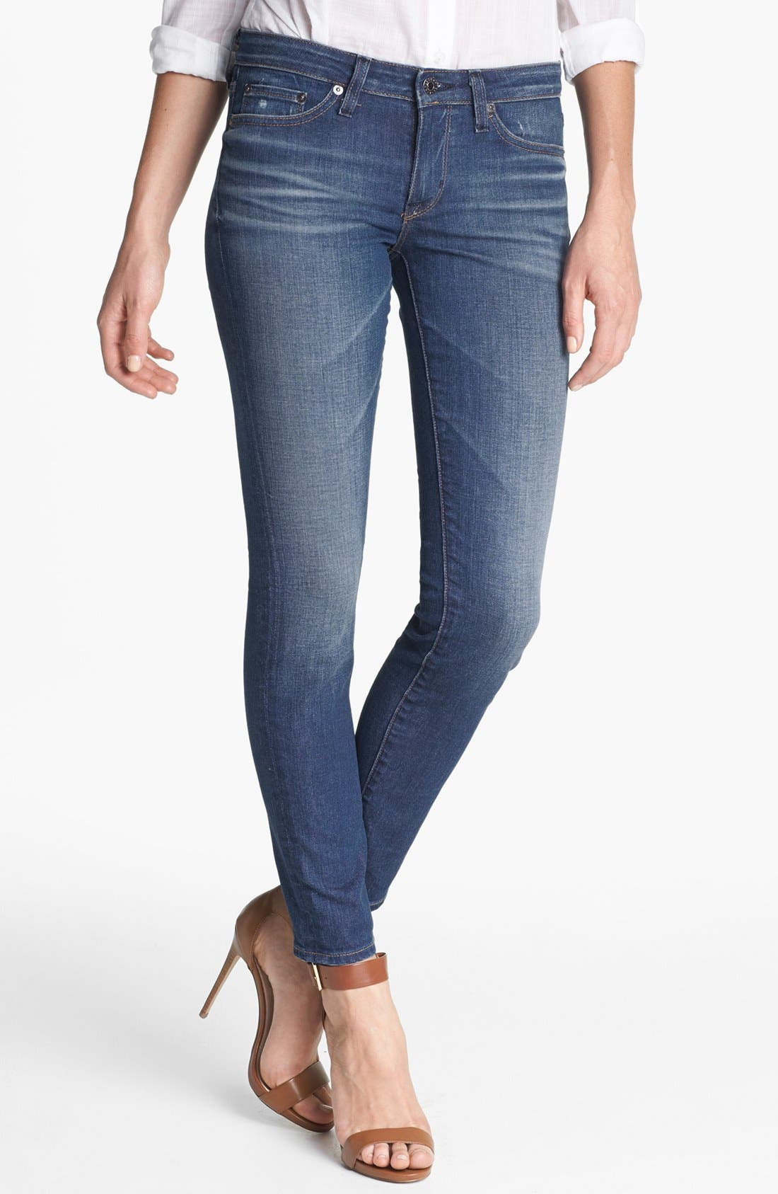 Alternate Image 1 Selected - Big Star 'Alex' Stretch Skinny Jeans (Six Year Tide) (Petite)