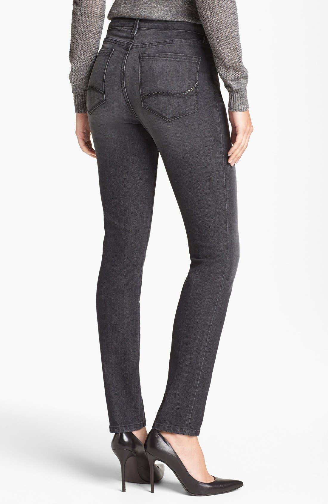 Alternate Image 2  - NYDJ 'Alina' Stretch Skinny Jeans (Raven)