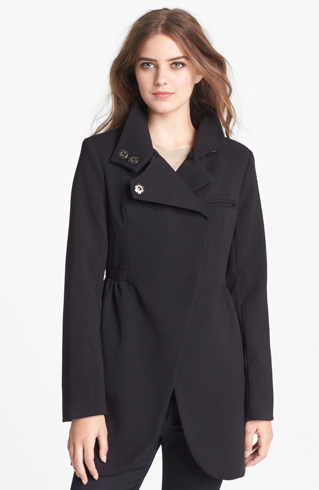 Alternate Image 4  - bebe Asymmetrical Coat with Detachable Faux Fur Collar