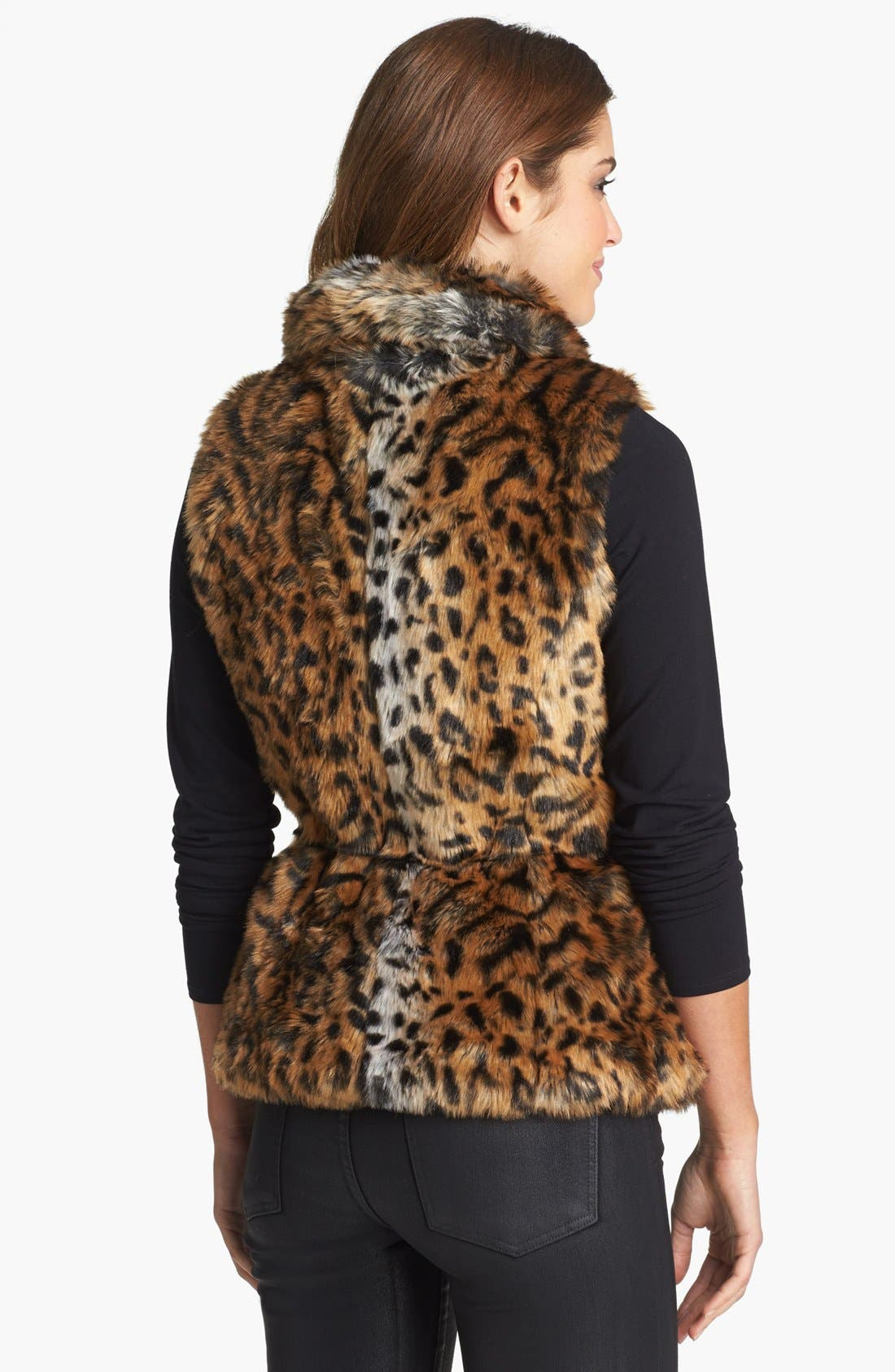 Alternate Image 2  - Damselle Belted Faux Fur Vest (Online Only)