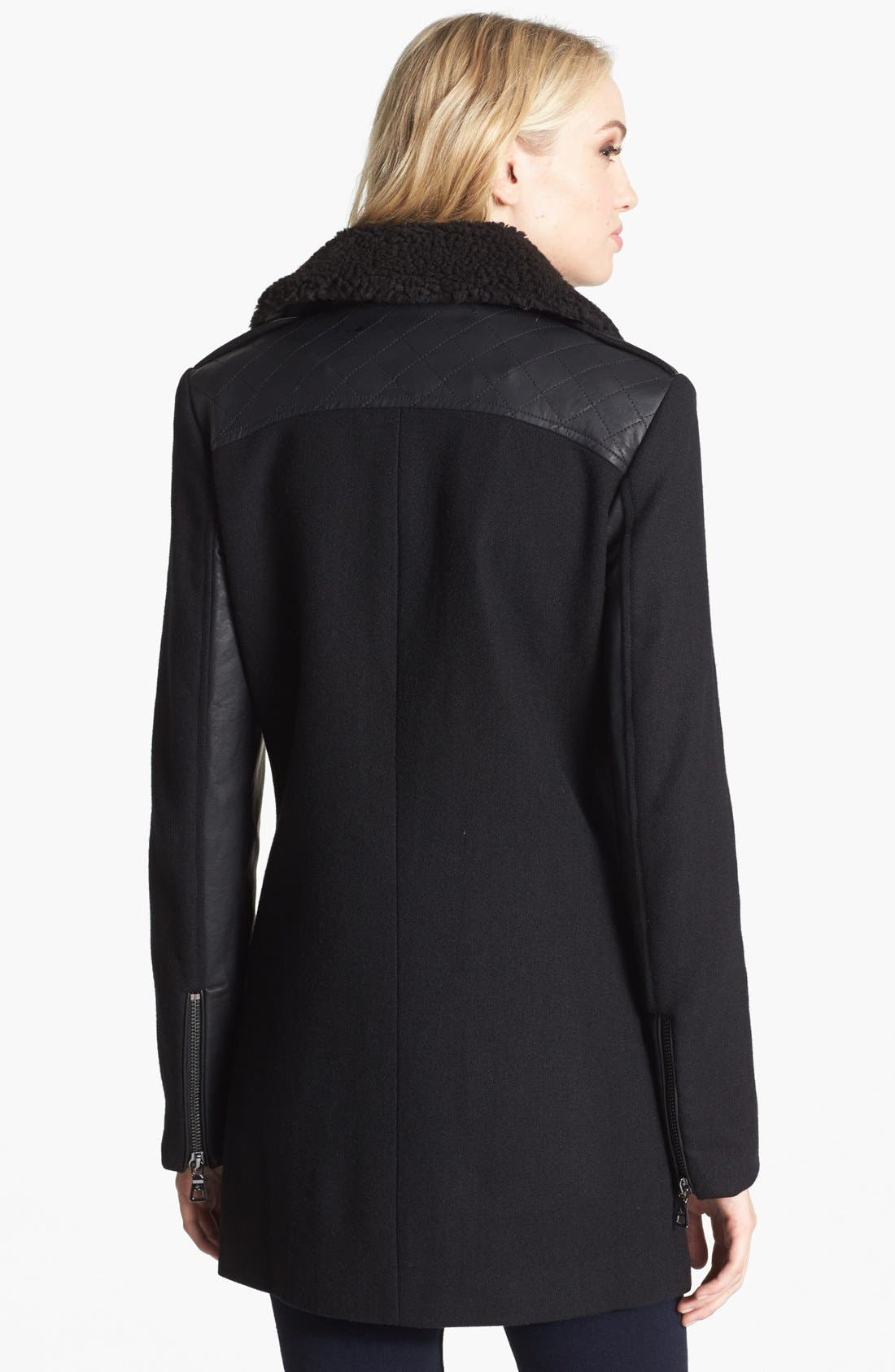 Alternate Image 2  - Sam Edelman 'Leigh' Faux Shearling Collar Coat (Online Only)