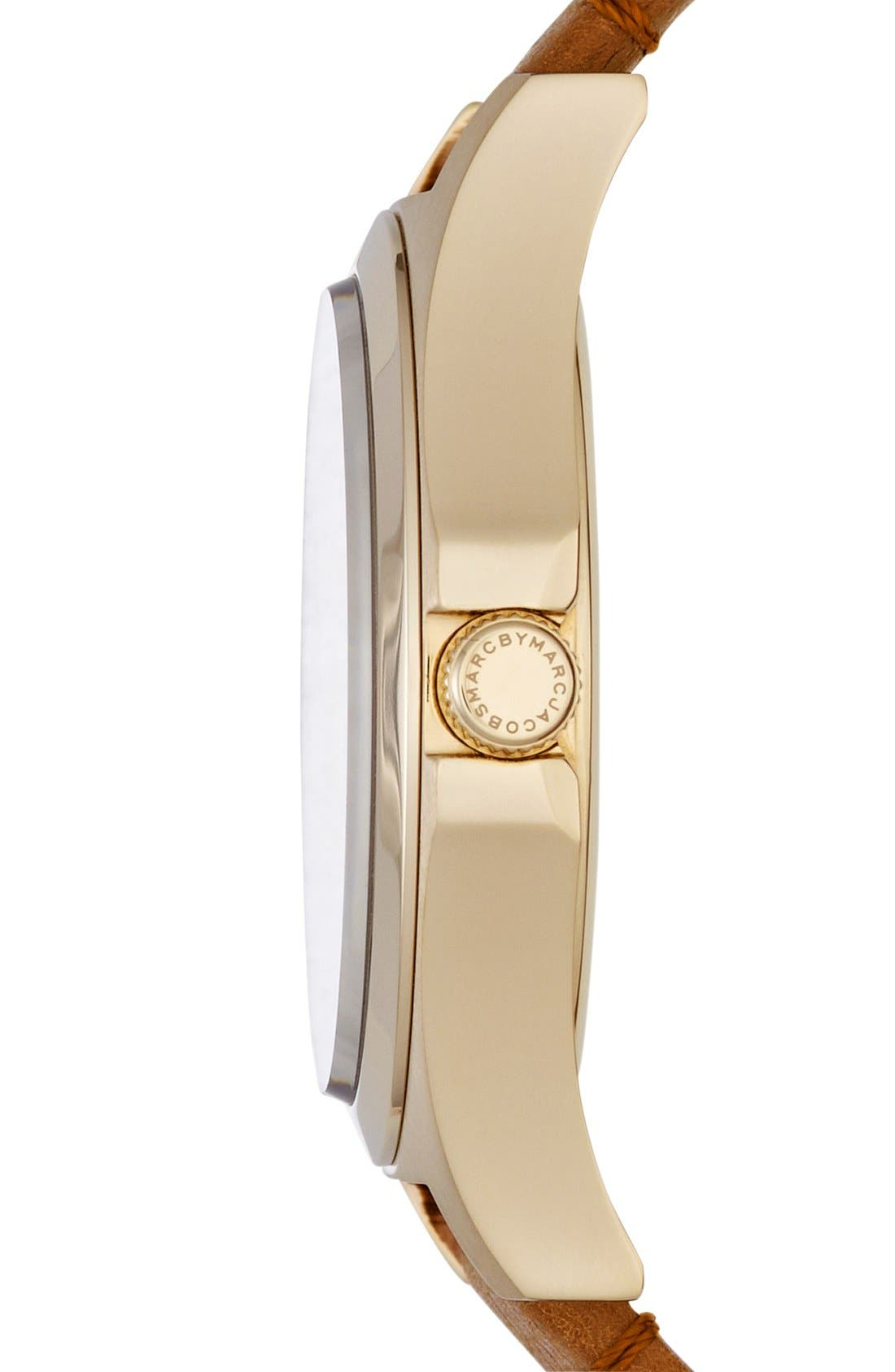 Alternate Image 3  - MARC BY MARC JACOBS 'Baby Dave' Leather Strap Watch, 40mm