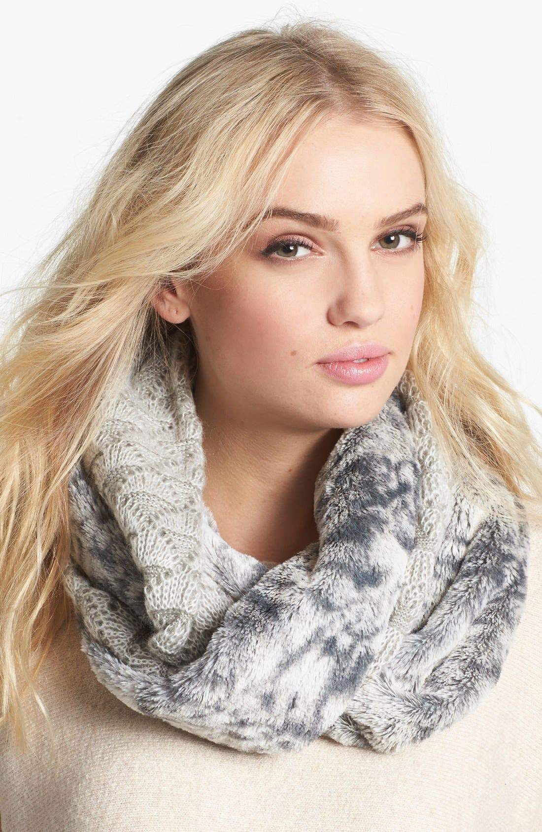 Alternate Image 1 Selected - Collection XIIX 'Shell Stitch' Knit Infinity Scarf with Faux Fur