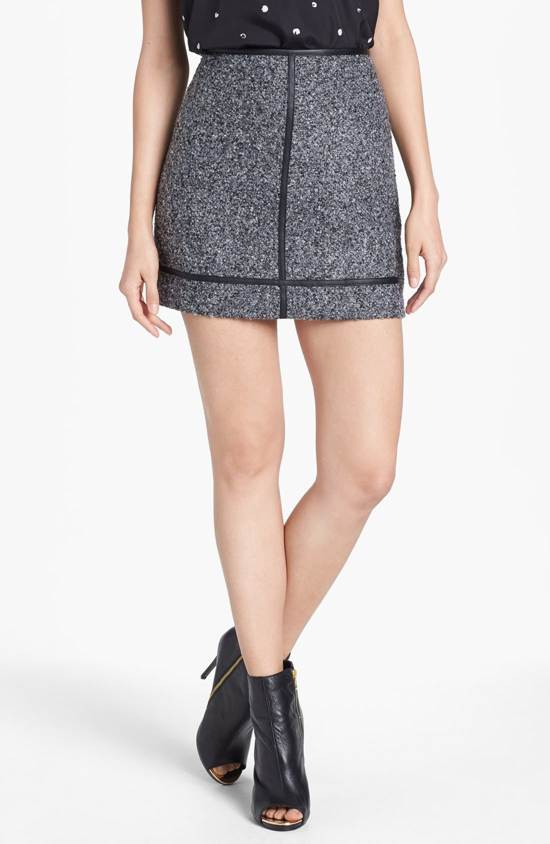 Main Image - kensie Faux Leather Trim Tweed Skirt