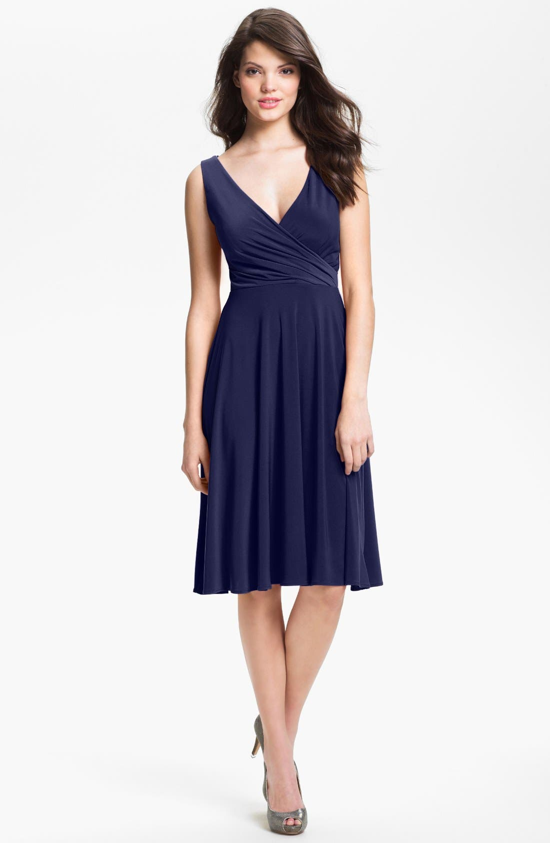Main Image - Isaac Mizrahi New York Surplice Jersey Dress (Regular & Petite)