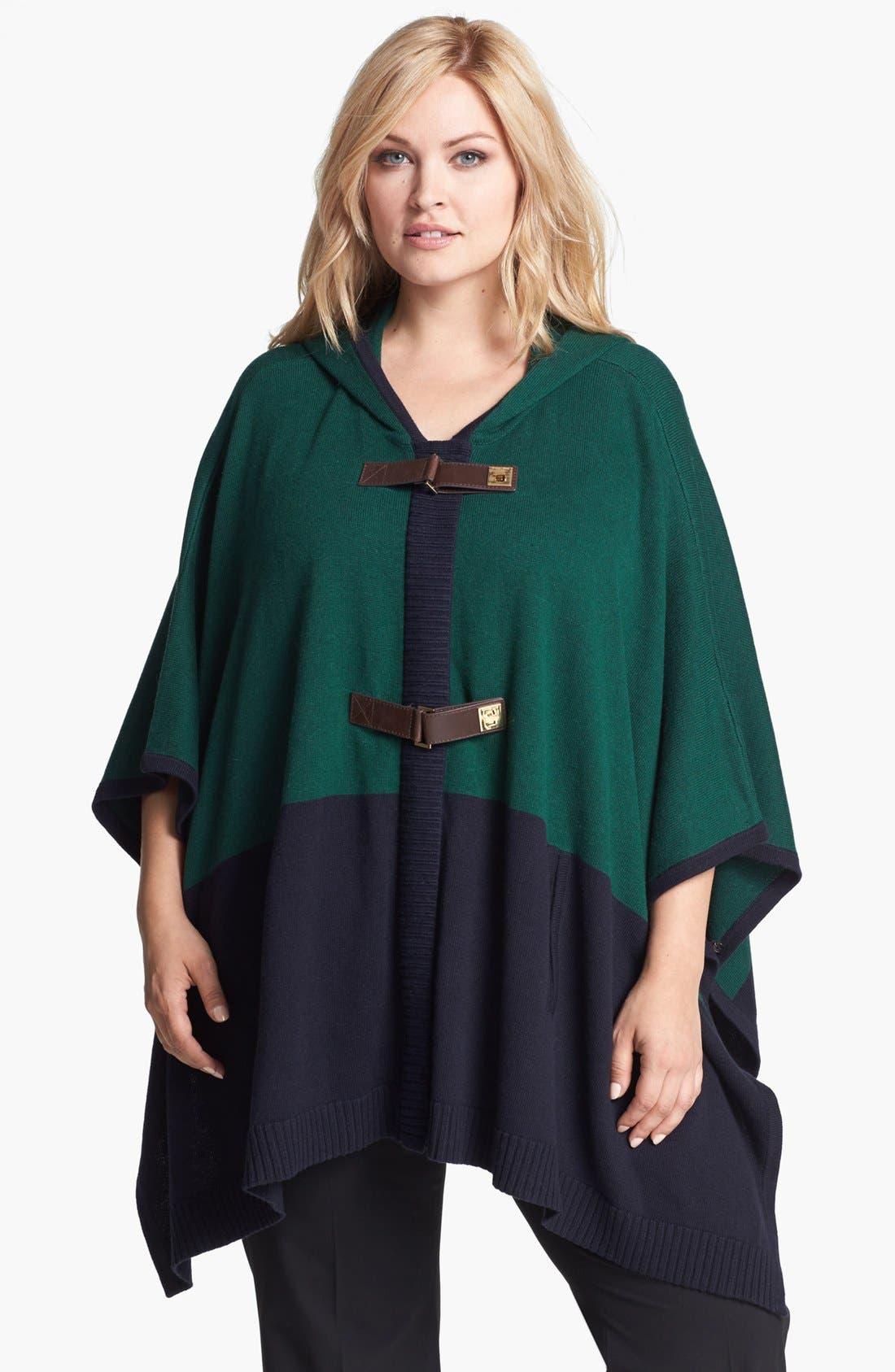 Main Image - MICHAEL Michael Kors Colorblock Poncho Sweater (Plus Size)