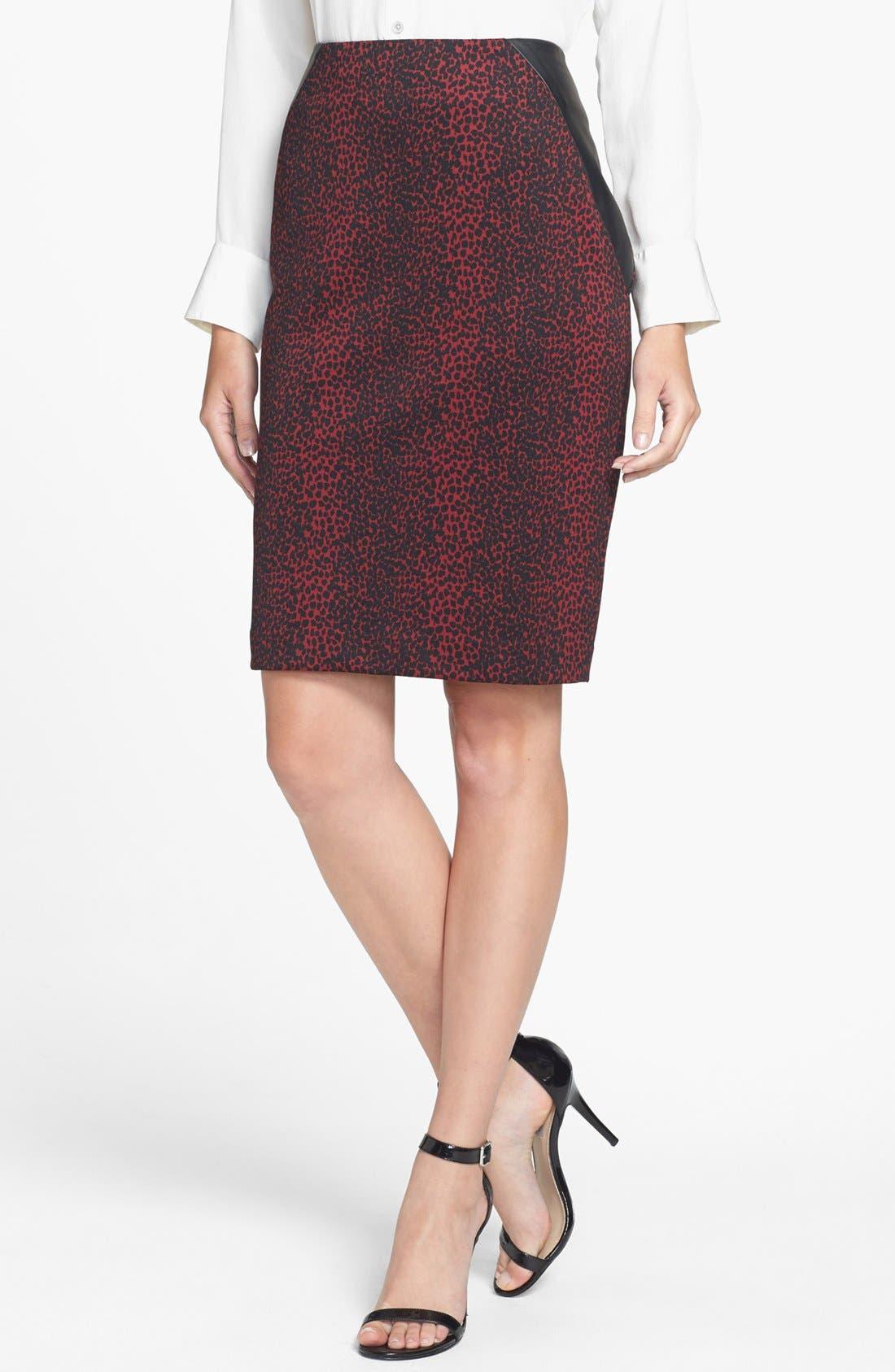 Main Image - Chaus Faux Leather Trim Print Pencil Skirt