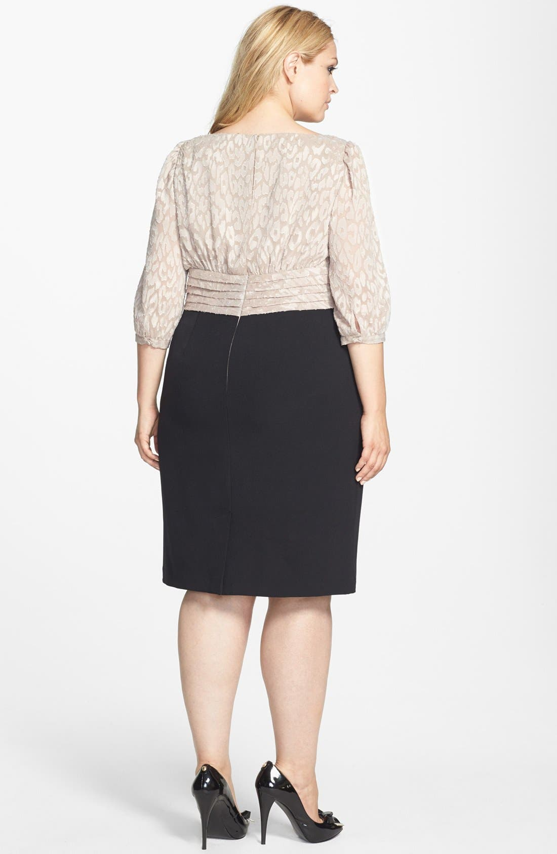 Alternate Image 2  - Adrianna Papell Mixed Media Sheath Dress (Plus Size)
