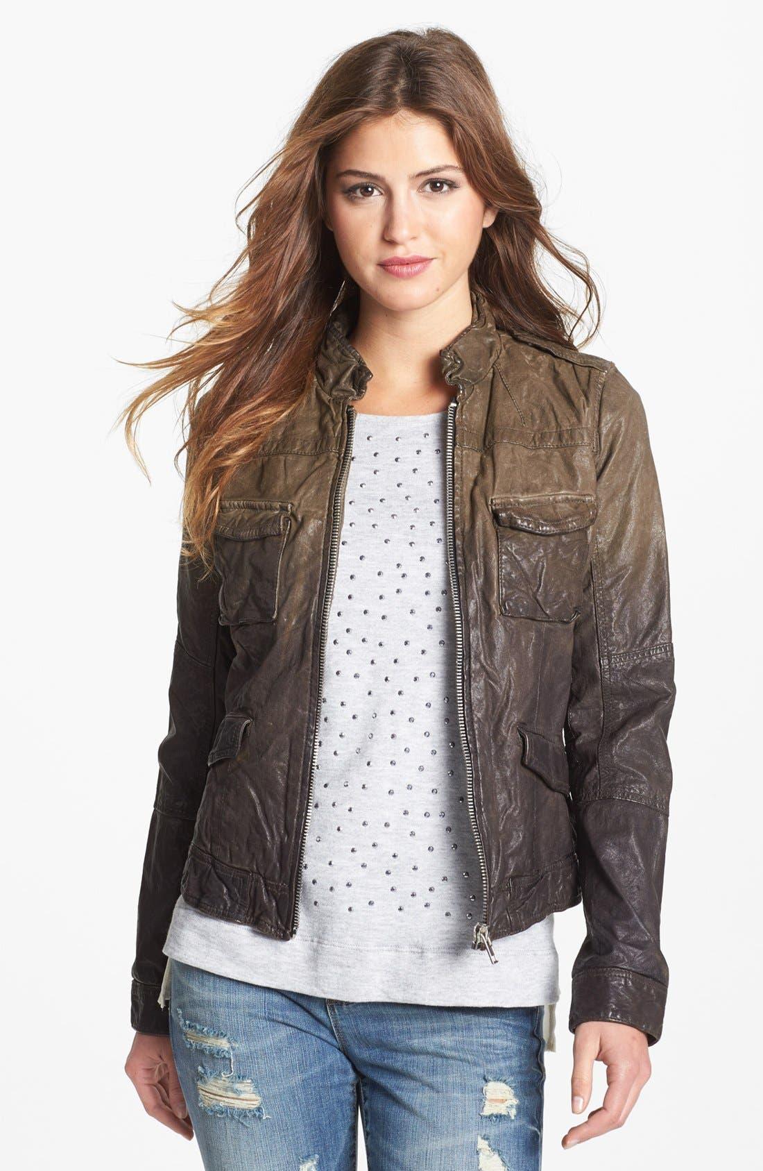 Alternate Image 1 Selected - Q40 Ombré Crinkled Leather Jacket