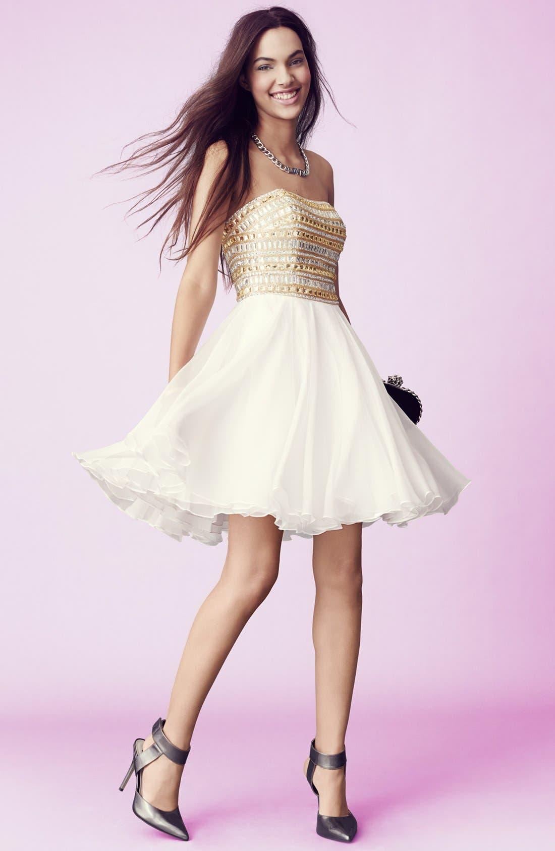 Alternate Image 4  - Sherri Hill Embellished Chiffon Fit & Flare Dress