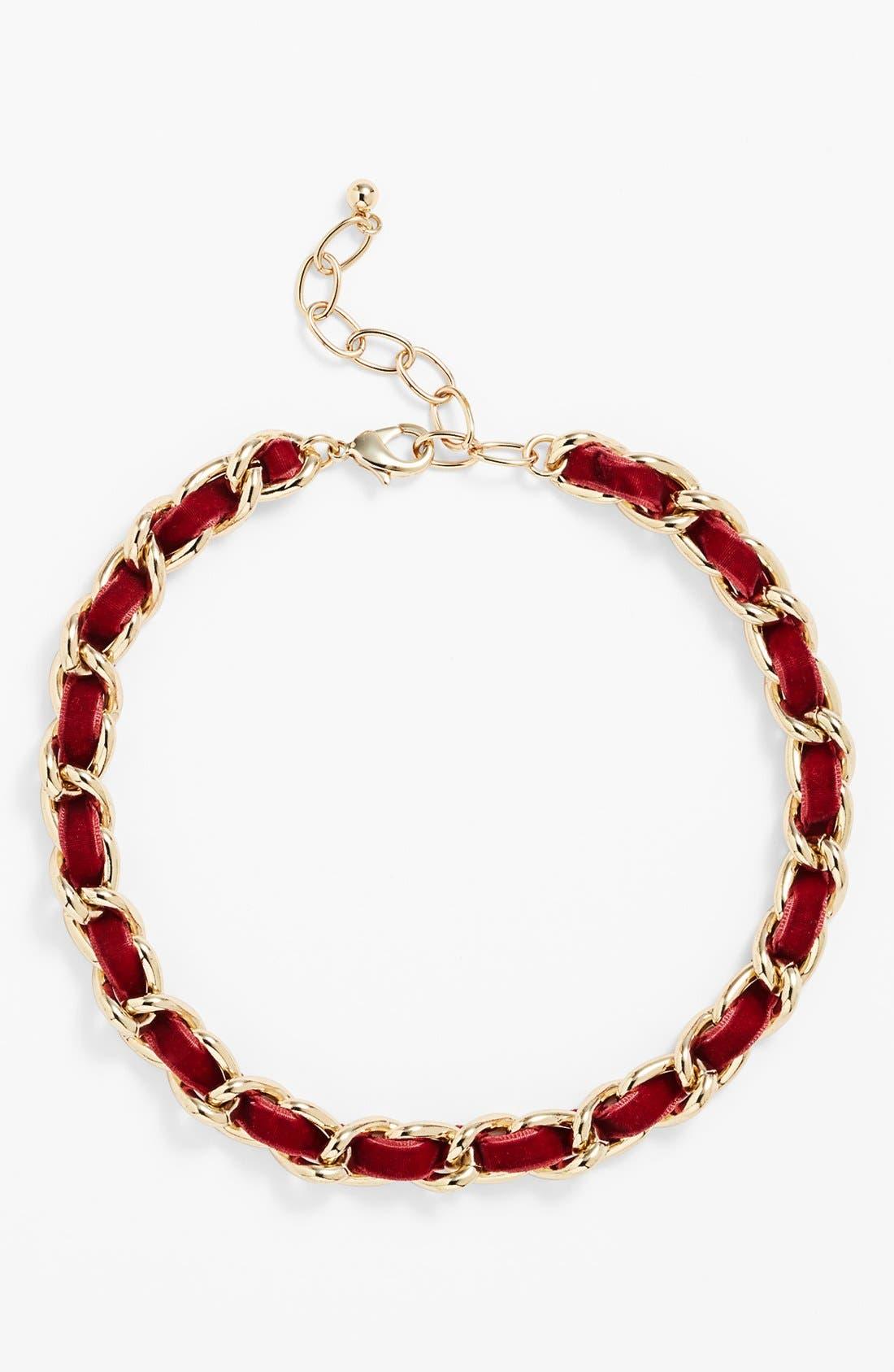 Alternate Image 2  - Nordstrom Velvet Woven Chain Collar Necklace