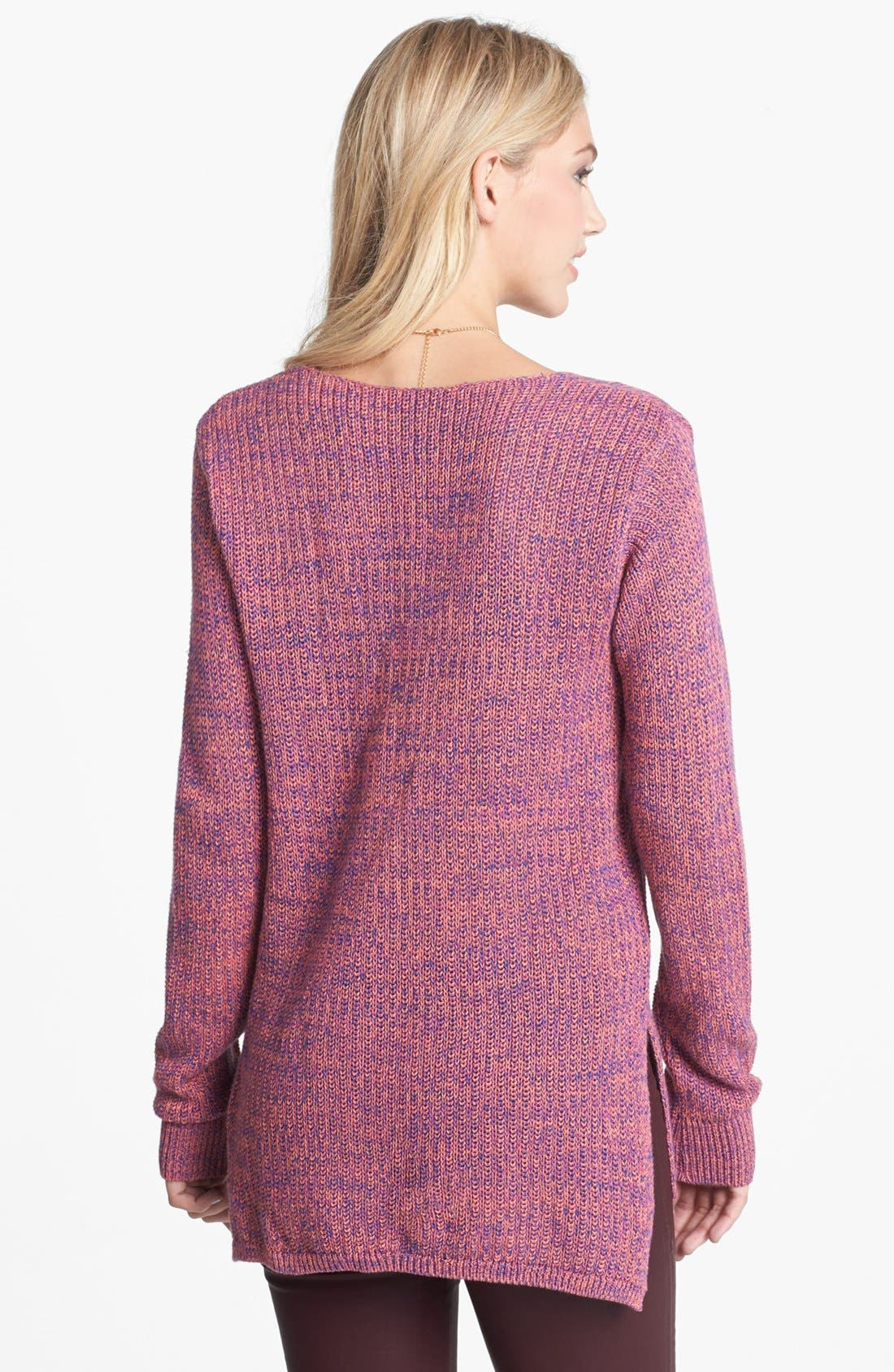 Alternate Image 2  - BP. Side Slit Marled V-Neck Sweater (Juniors)