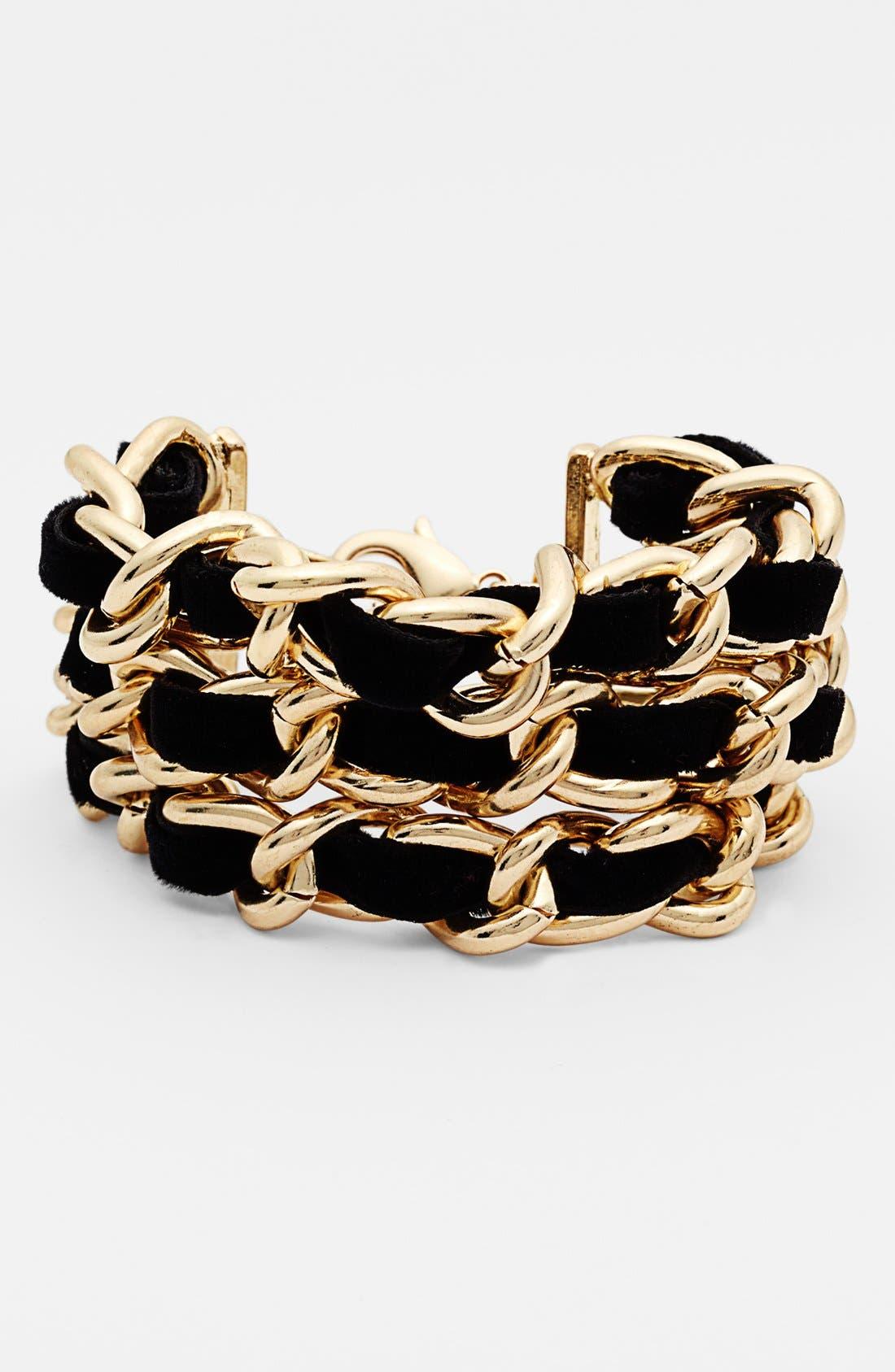 Alternate Image 1 Selected - Nordstrom 3-Row Velvet Woven Chain Bracelet