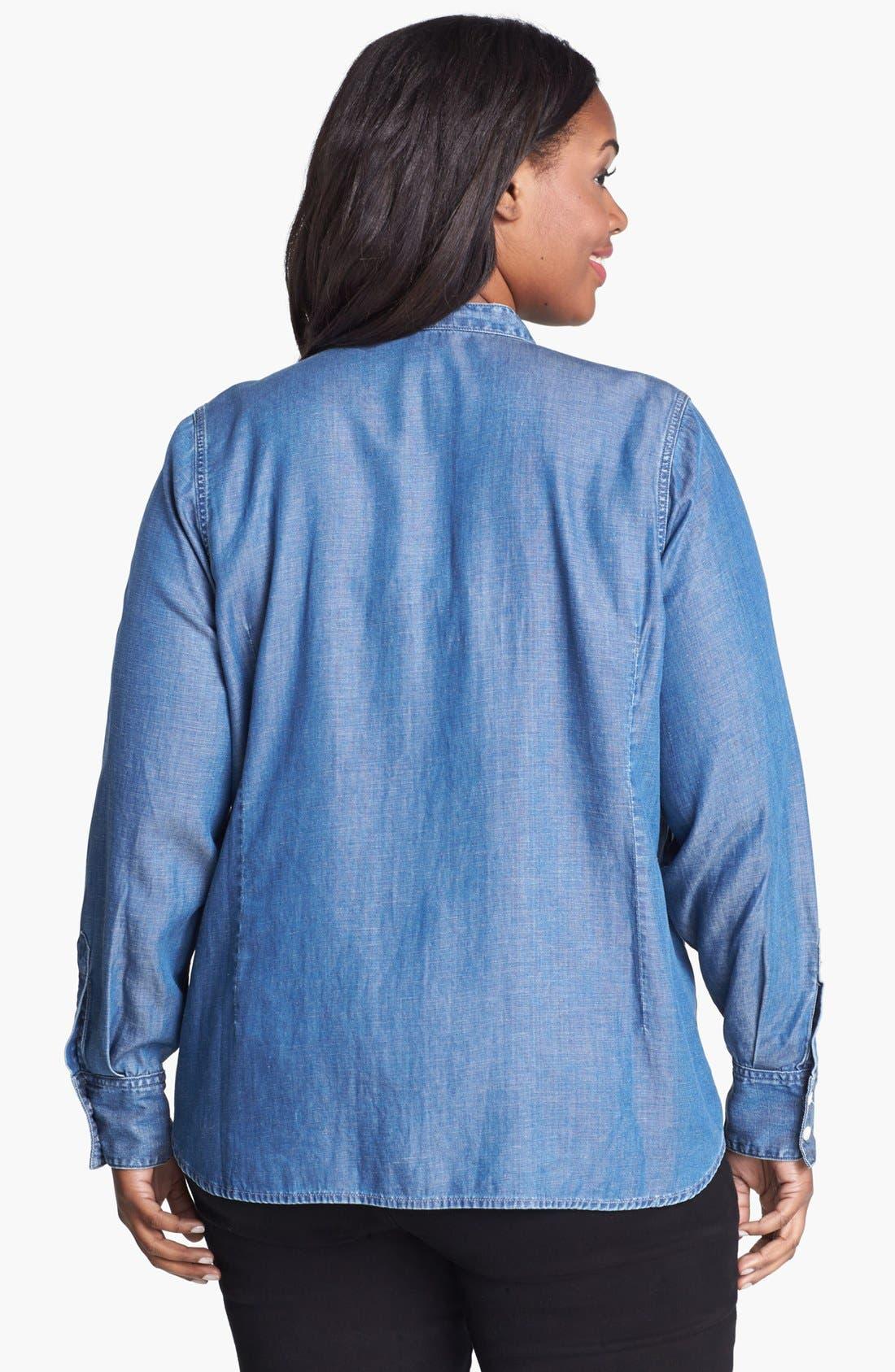 Alternate Image 2  - Lucky Brand Chambray Tuxedo Shirt (Plus Size)