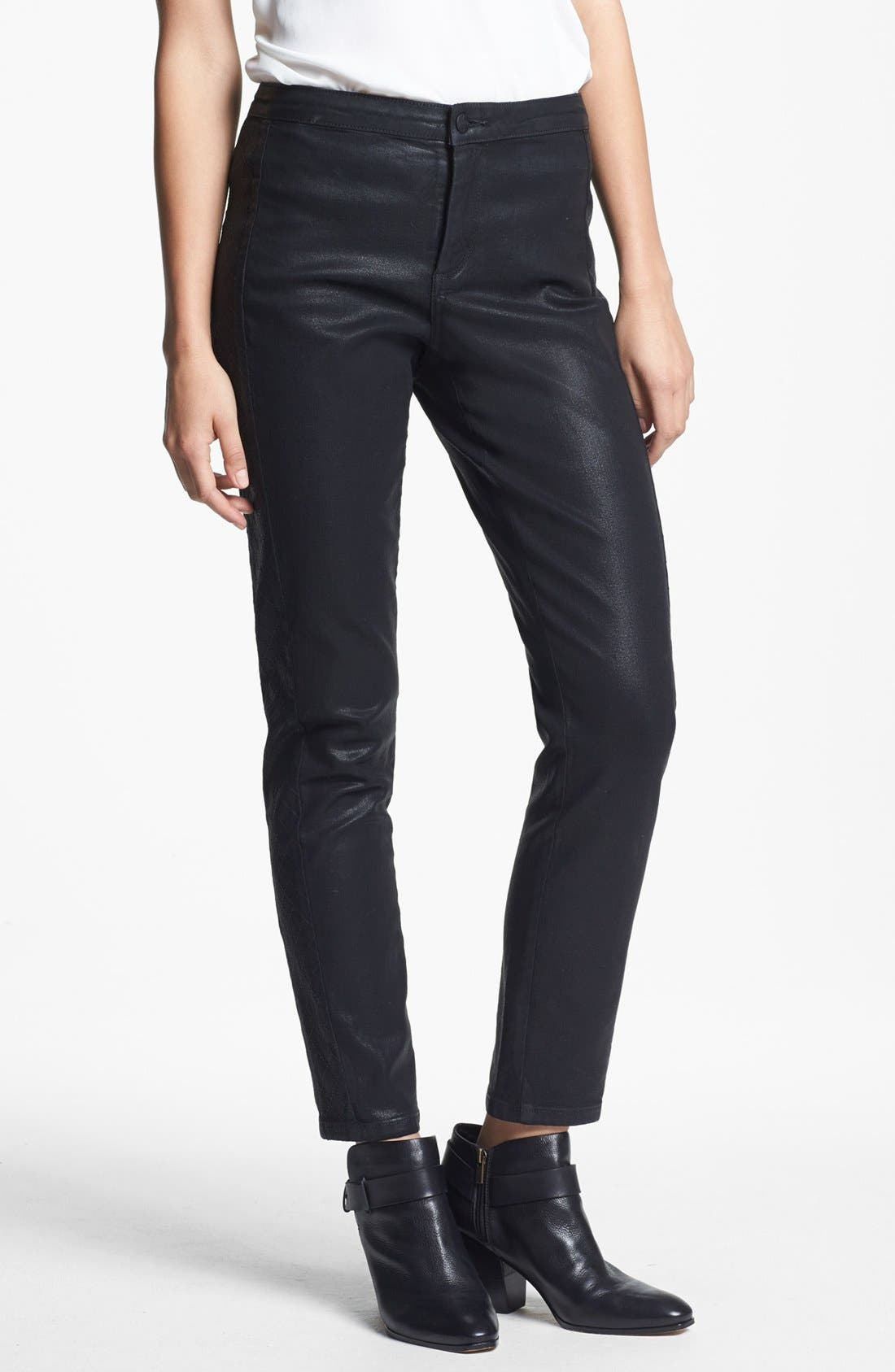 Alternate Image 1 Selected - NYDJ Coated Stretch Skinny Jeans (Black)