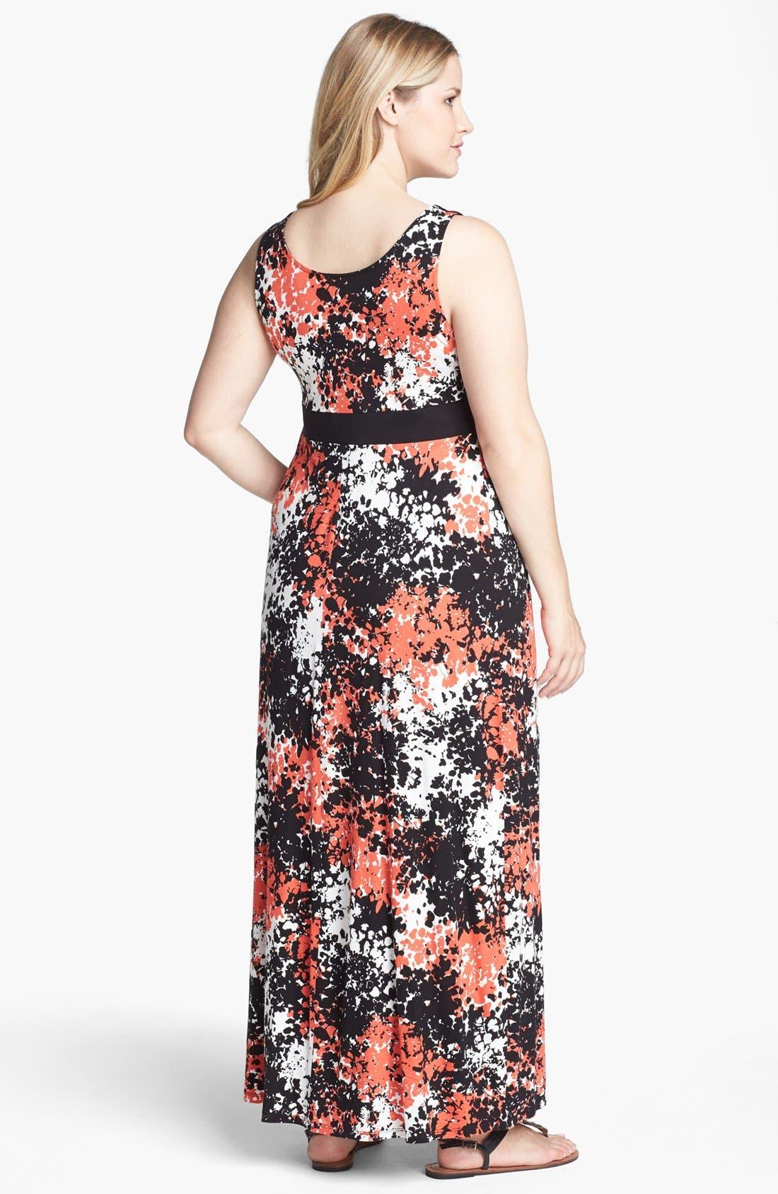 Alternate Image 2  - Evans Print Jersey Maxi Dress (Plus Size)