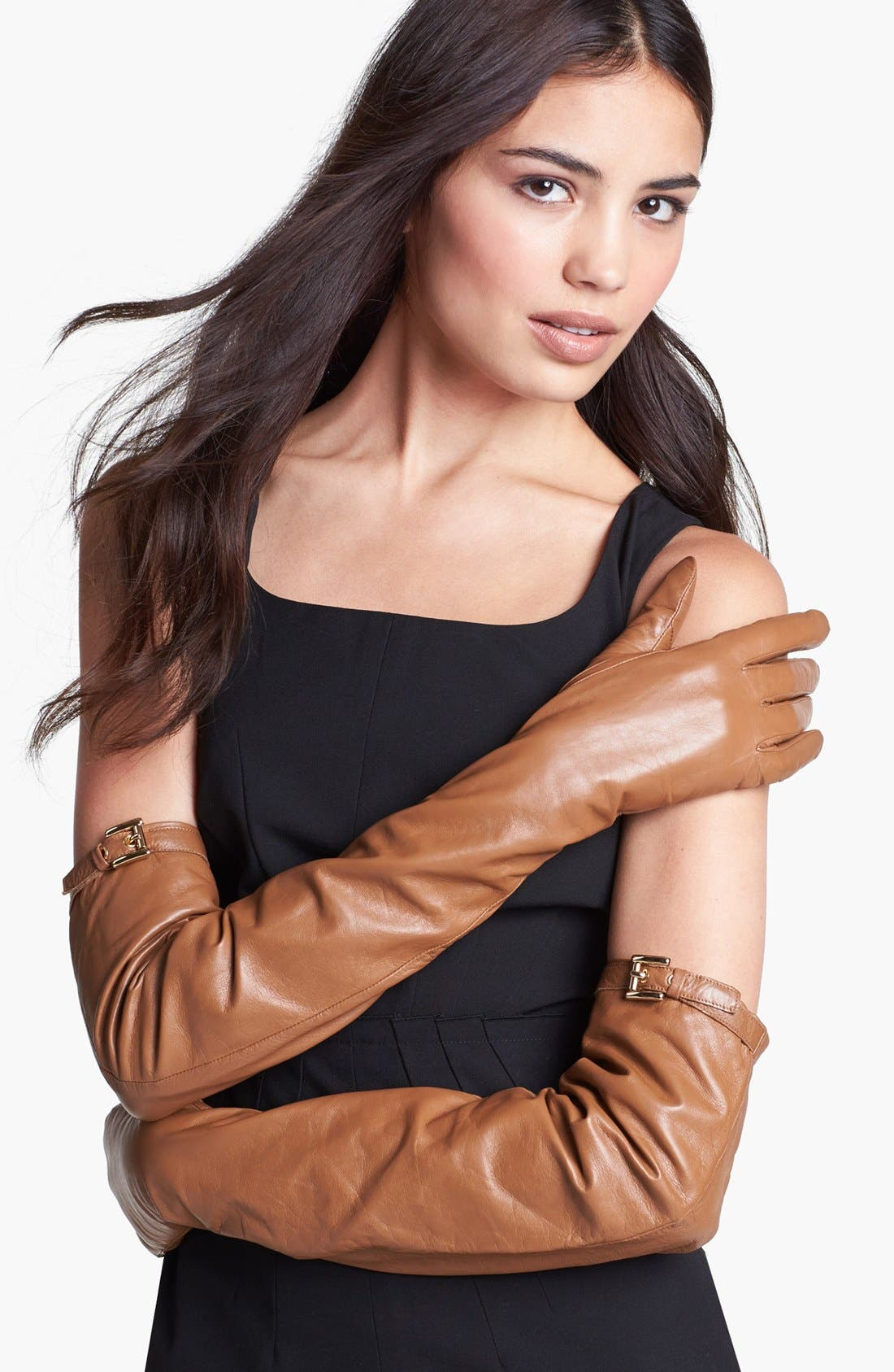 Alternate Image 1 Selected - MICHAEL Michael Kors Long Leather Gloves