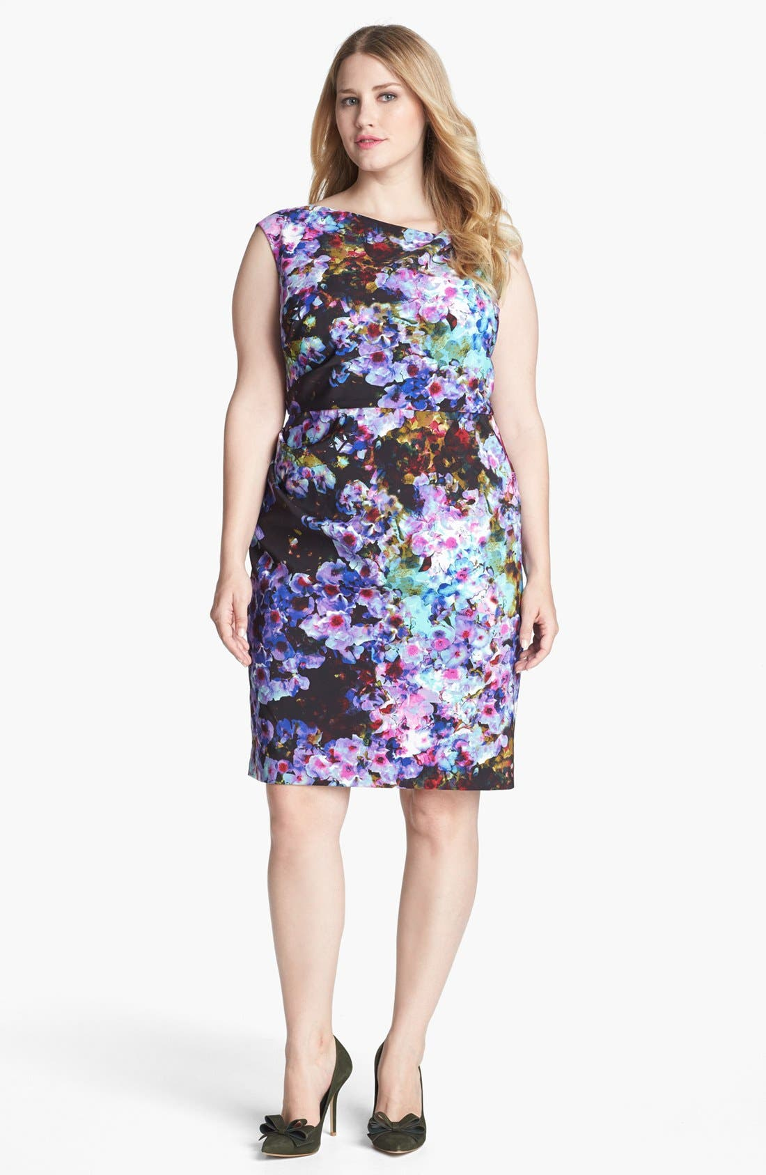 Main Image - Ivy & Blu Print Satin Sheath Dress (Plus Size)
