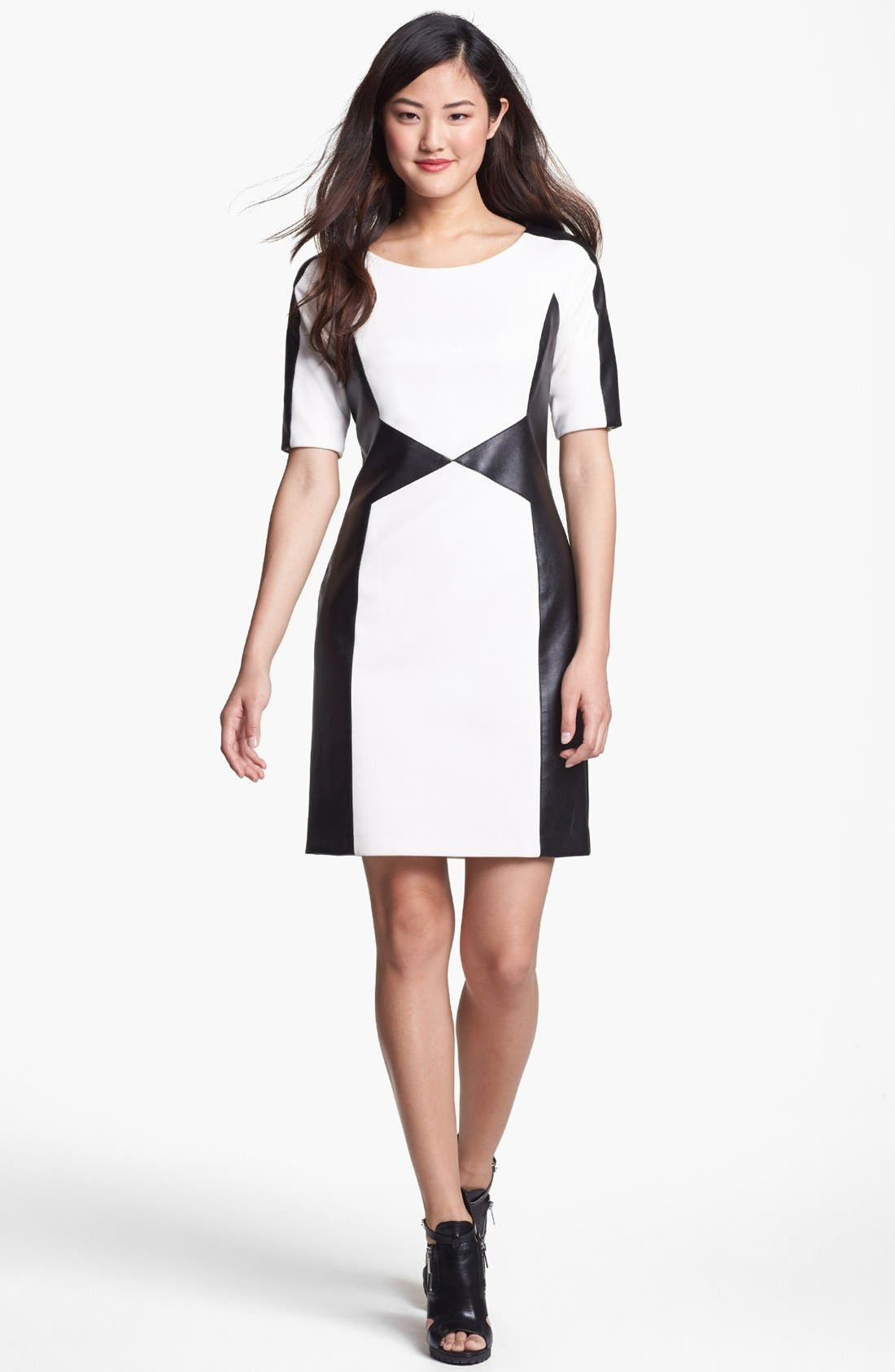 Alternate Image 1 Selected - Laundry by Shelli Segal Faux Leather Trim Sheath Dress