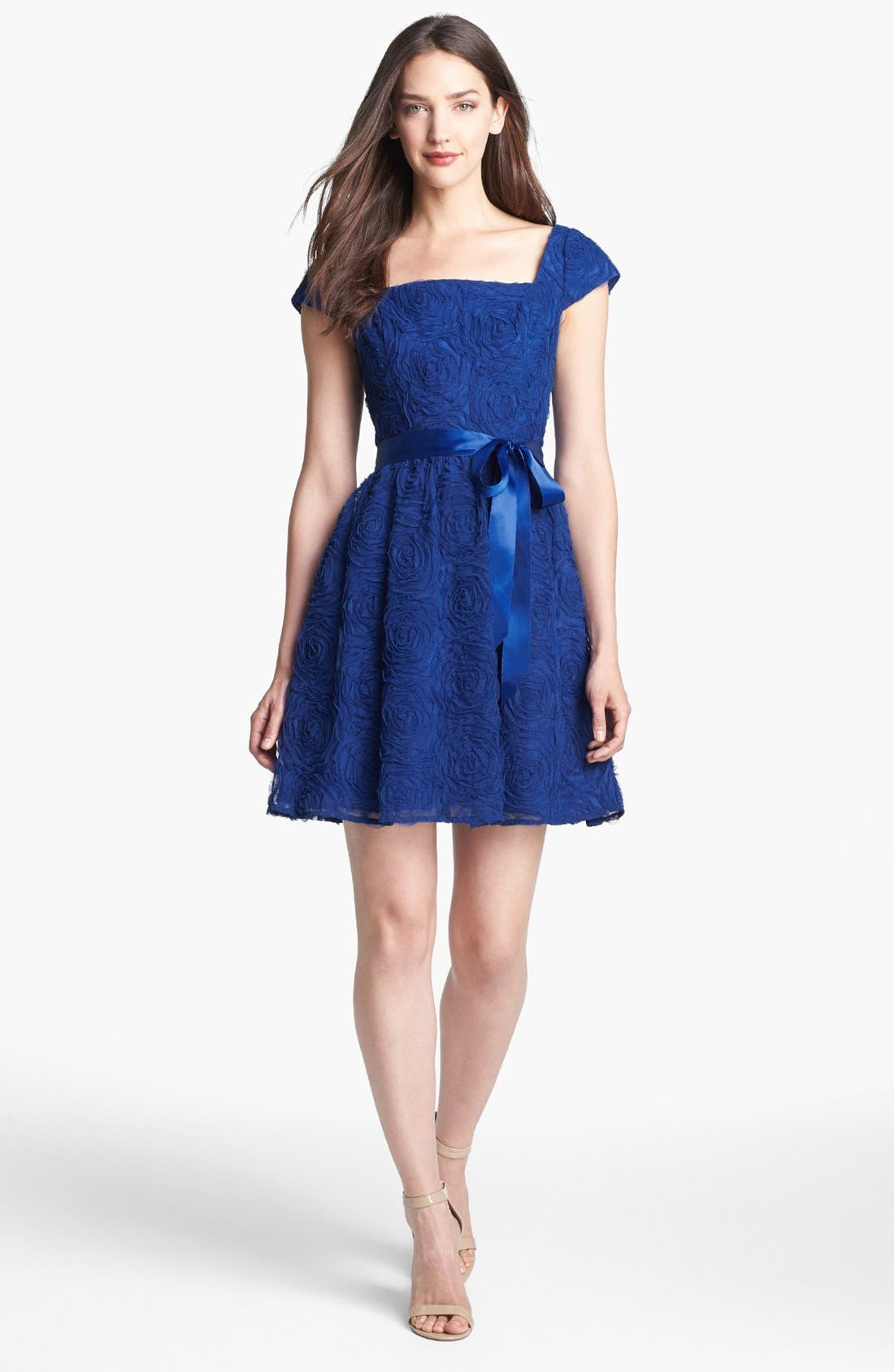 Main Image - Adrianna Papell Rosette Textured Fit & Flare Dress