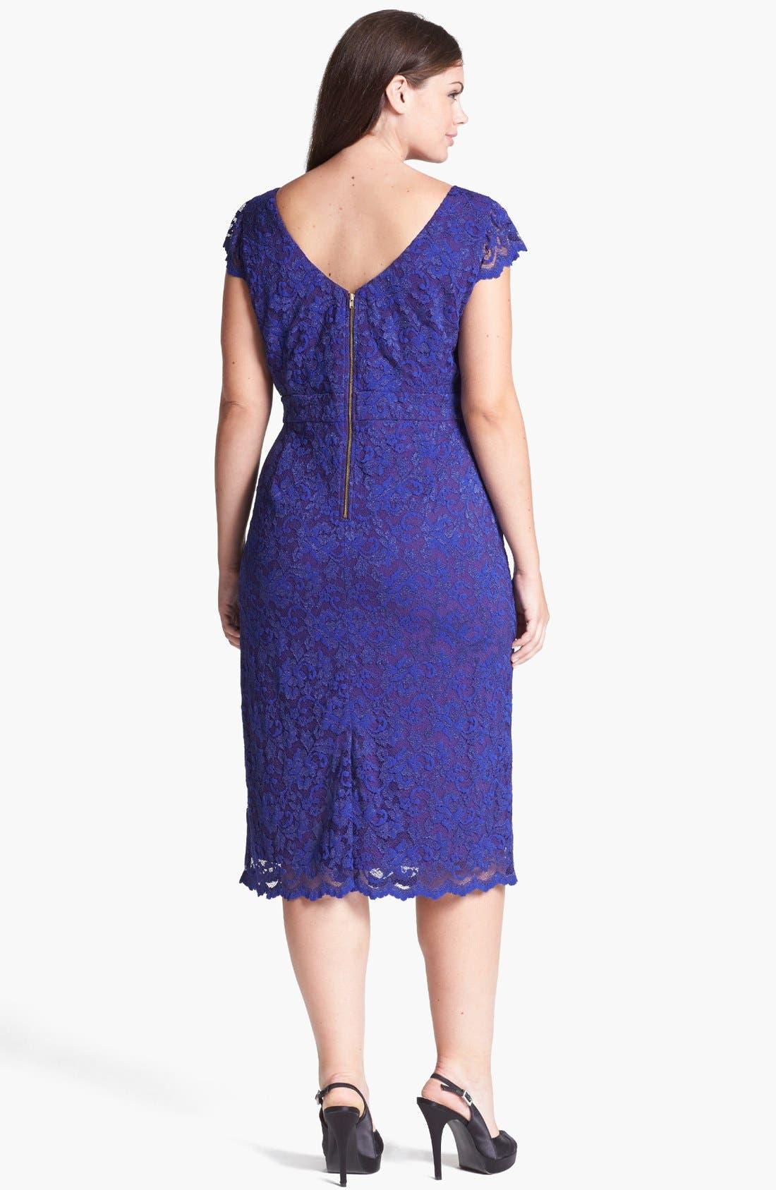 Alternate Image 2  - ABS by Allen Schwartz Lace Pencil Dress (Plus Size)