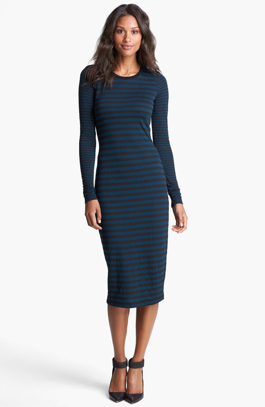 Main Image - Three Dots Stripe Crewneck Midi Dress
