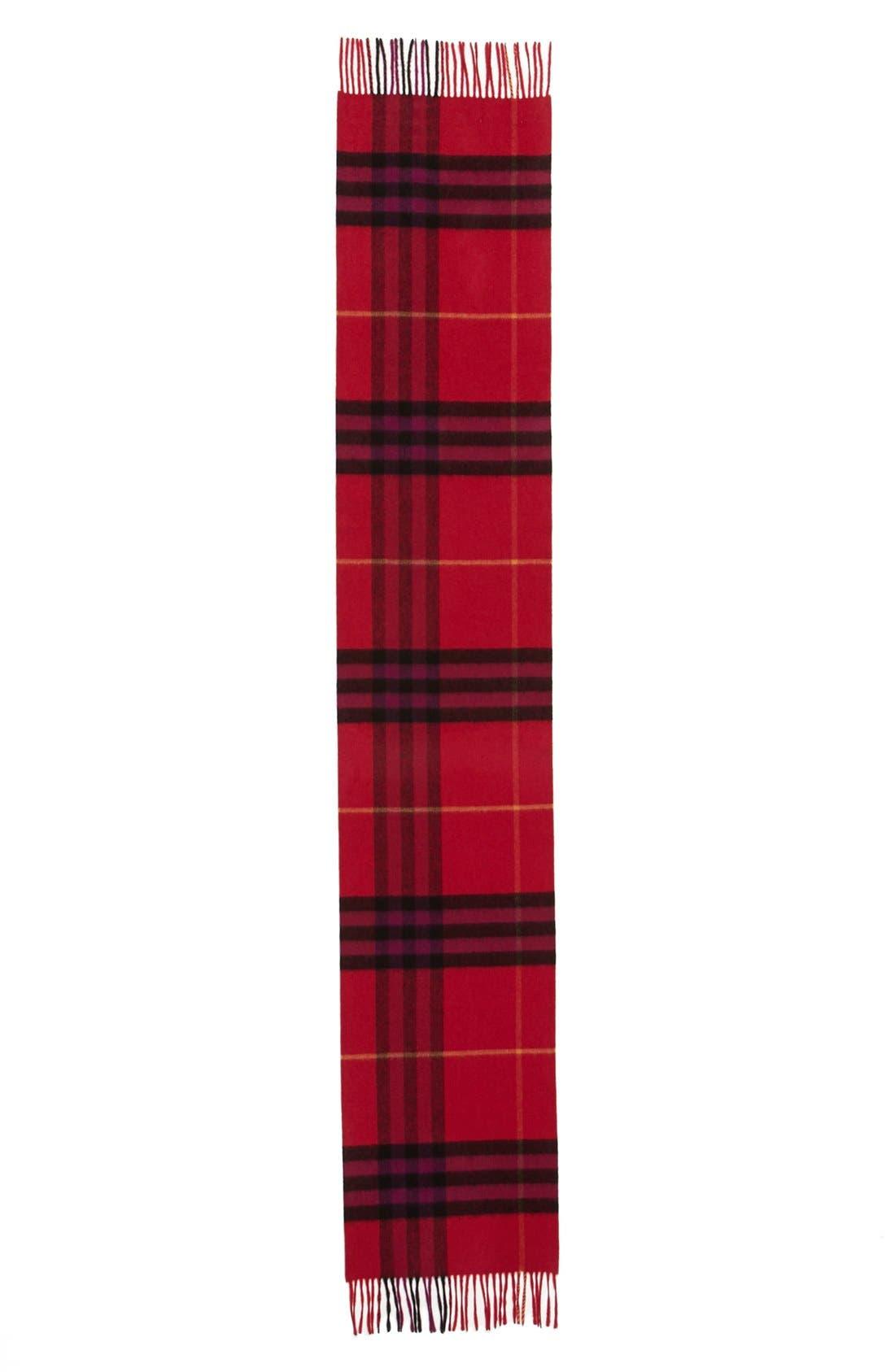Alternate Image 2  - Burberry Giant Check Fringed Cashmere Muffler
