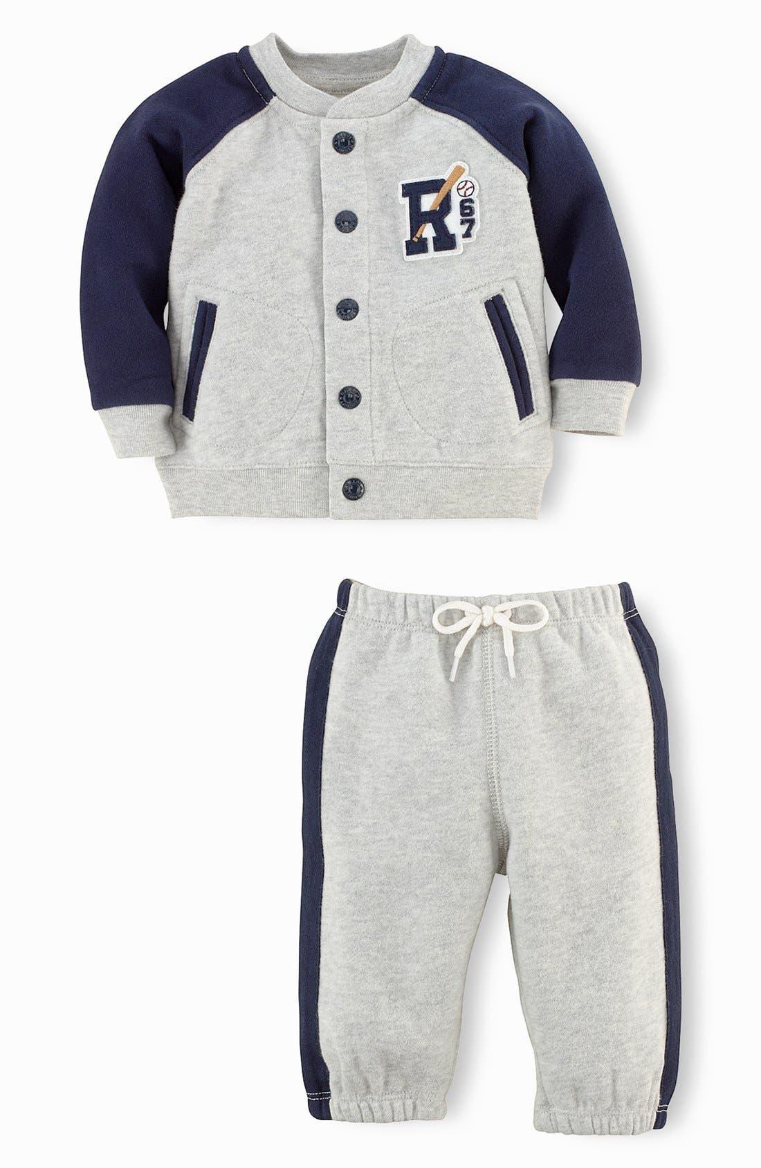 Alternate Image 2  - Ralph Lauren Fleece Jacket & Sweatpants (Baby Boys)