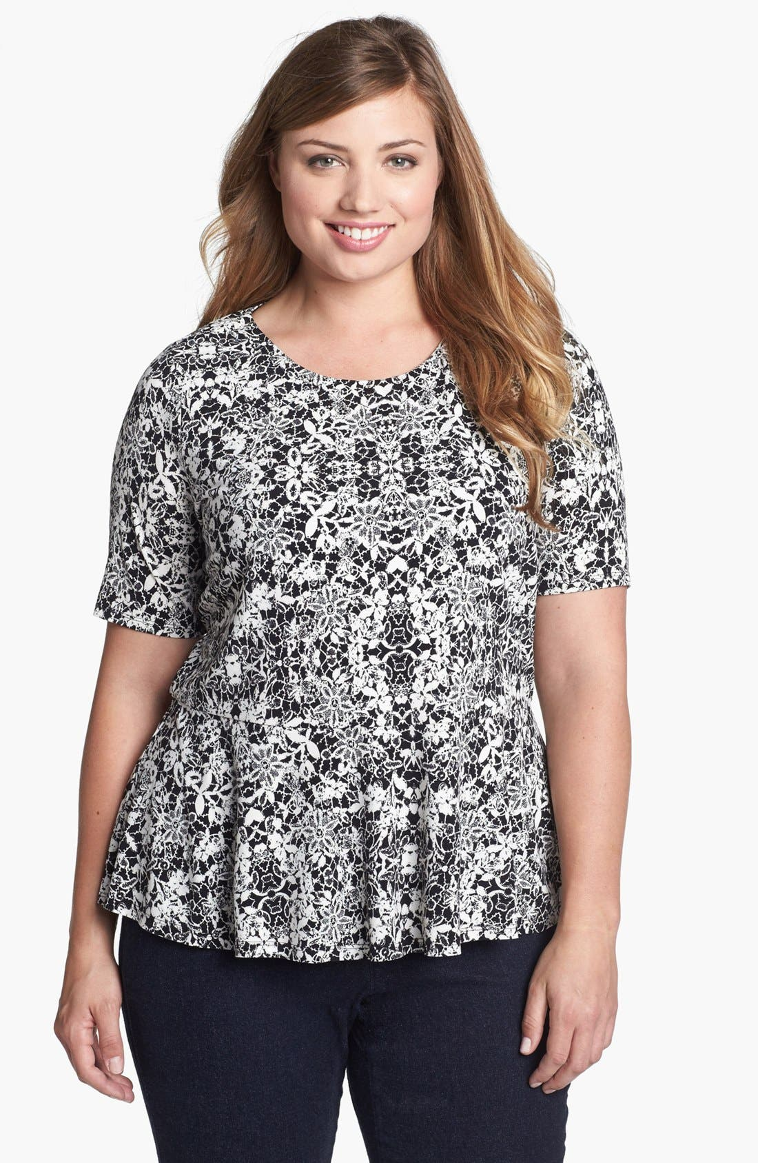 Alternate Image 1 Selected - Vince Camuto Lace Print Peplum Top (Plus Size)
