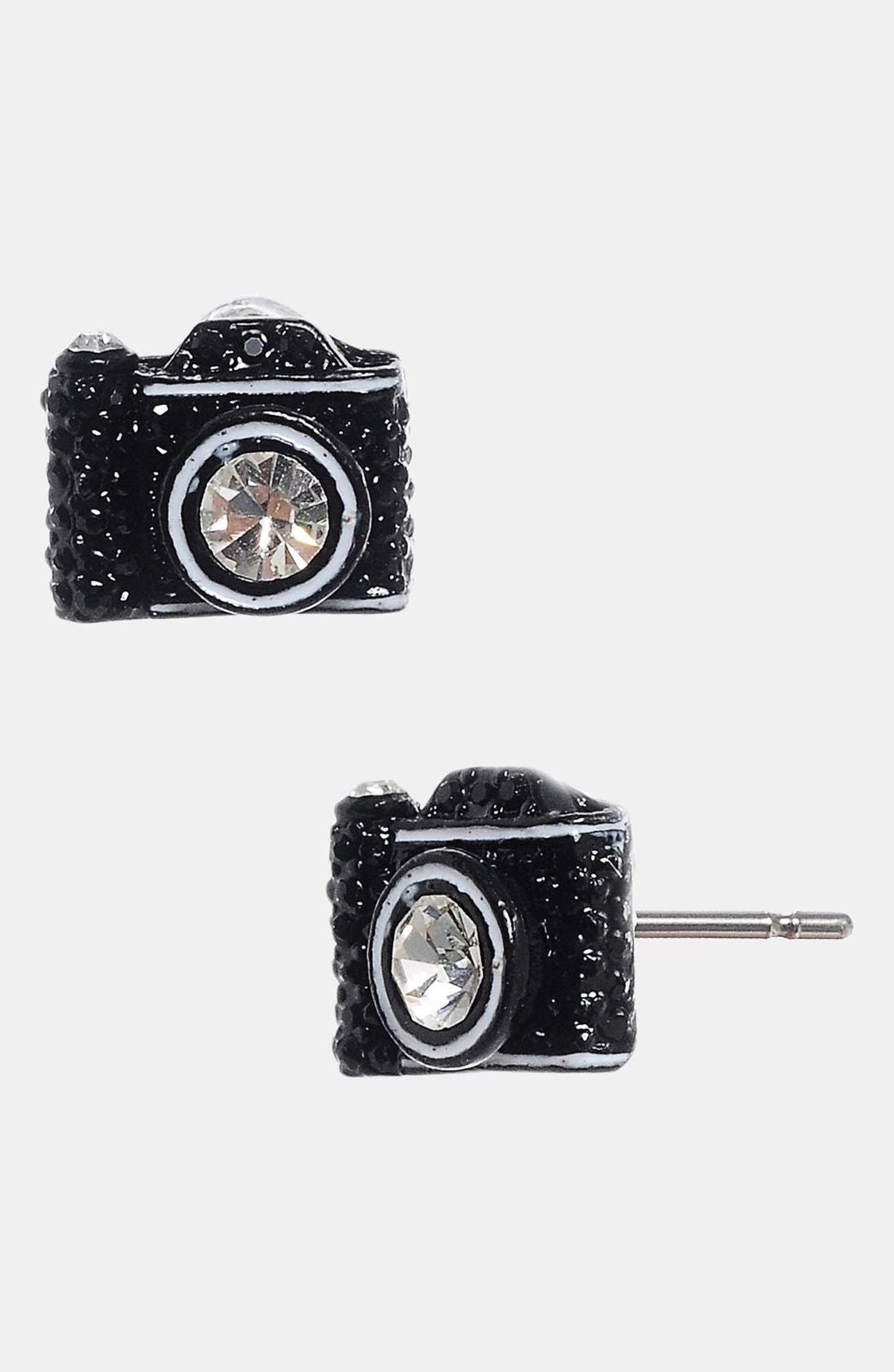 Main Image - Betsey Johnson Camera Stud Earrings