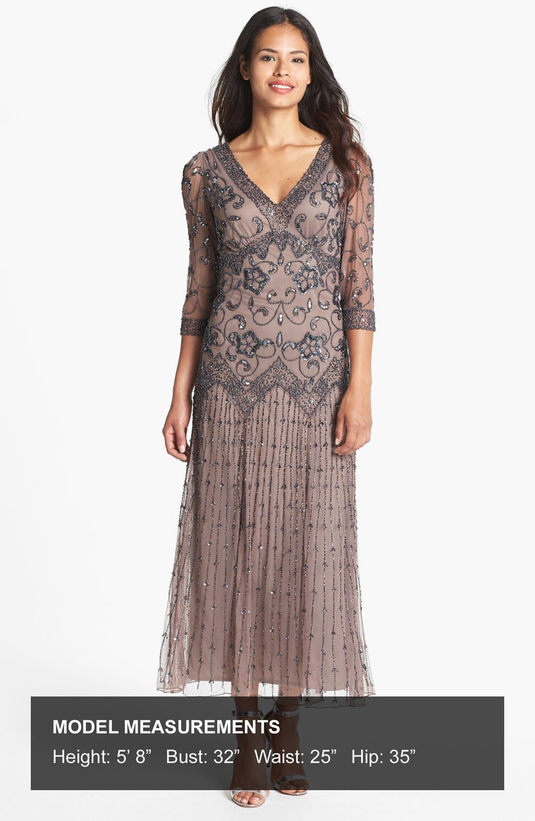 Alternate Image 4  - Pisarro Nights Beaded Mesh Dress (Regular & Petite)