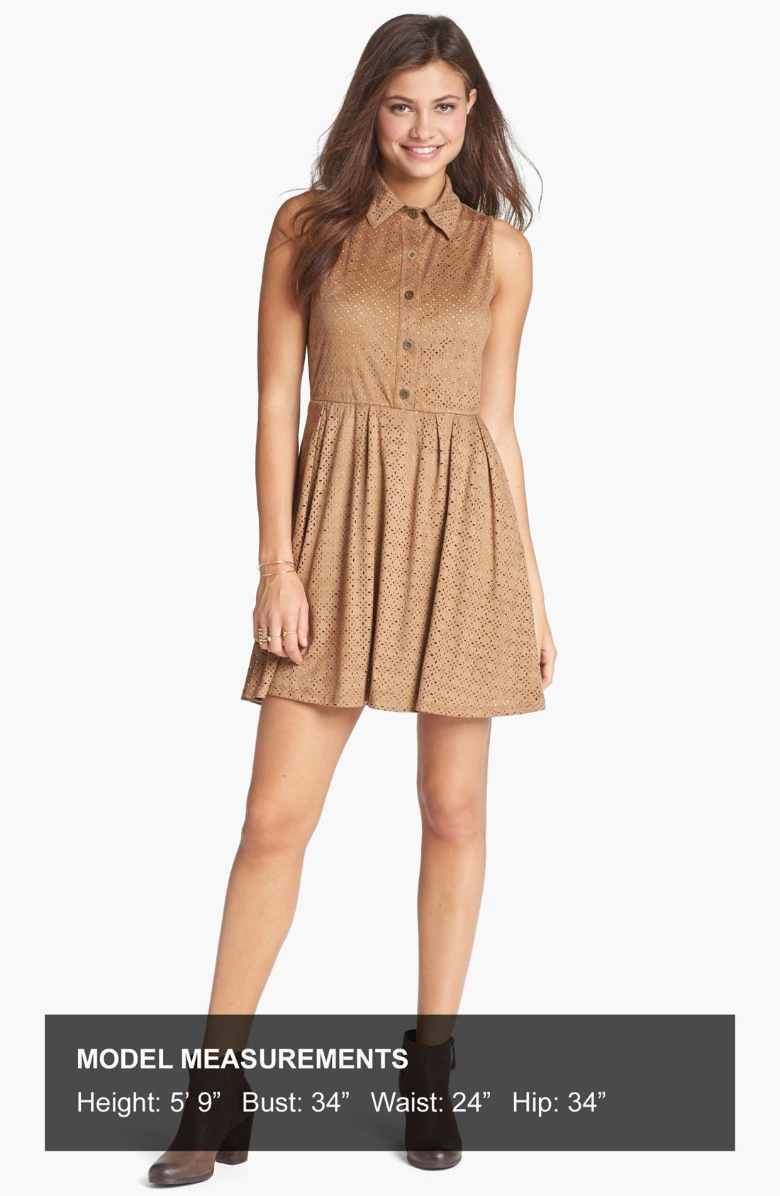 Alternate Image 4  - Mimi Chica Laser Cut Faux Suede Shirtdress (Juniors)