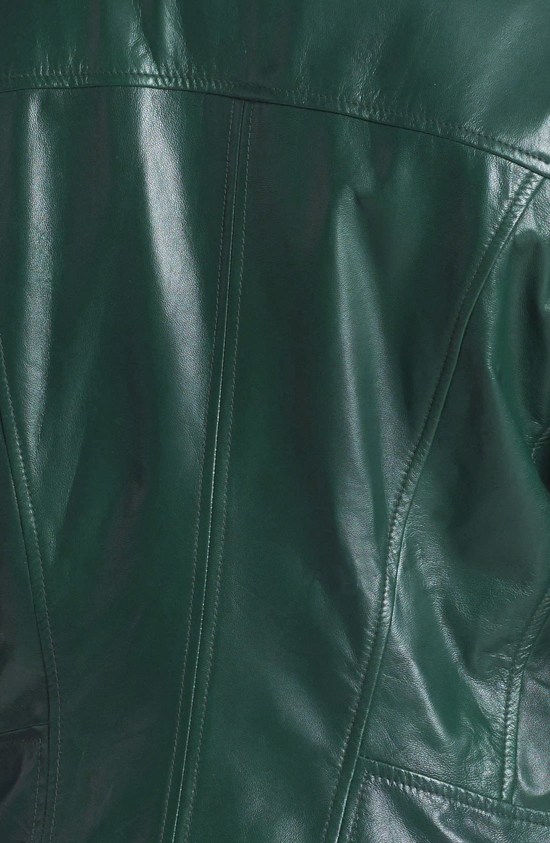 Alternate Image 3  - Halogen® Quilted Lapel Leather Moto Jacket (Plus Size)
