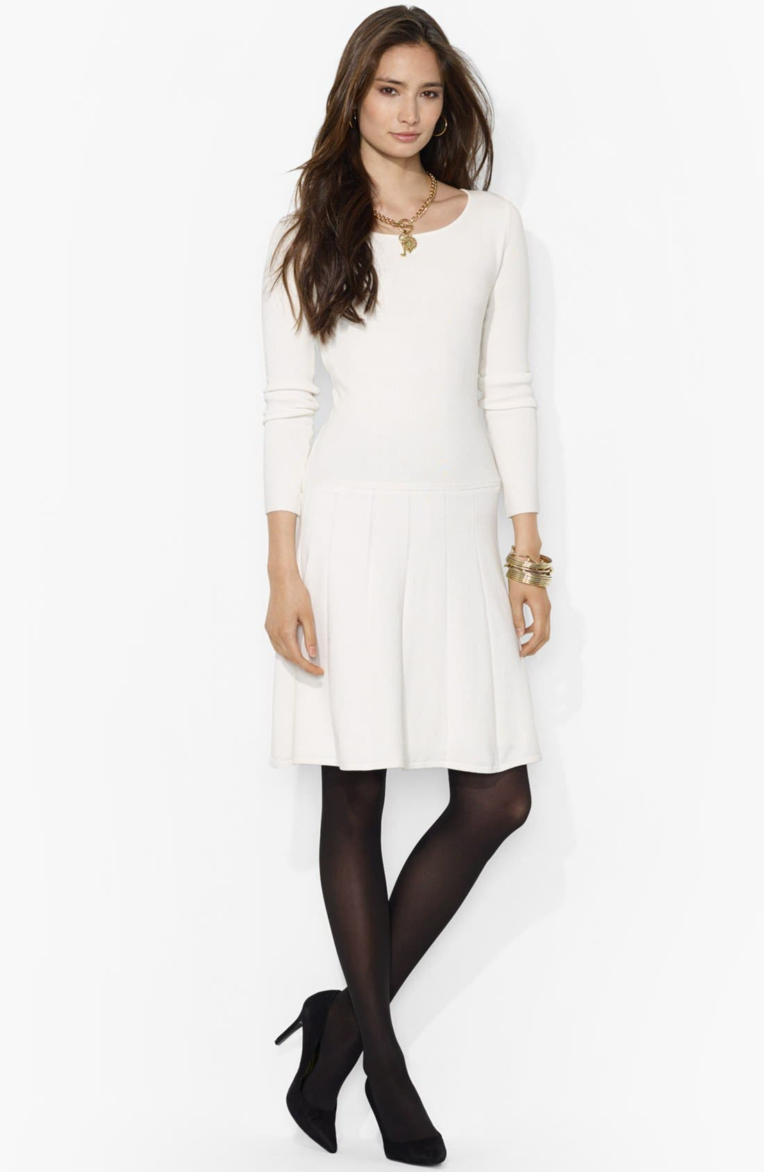 Main Image - Lauren Ralph Lauren Fit & Flare Sweater Dress
