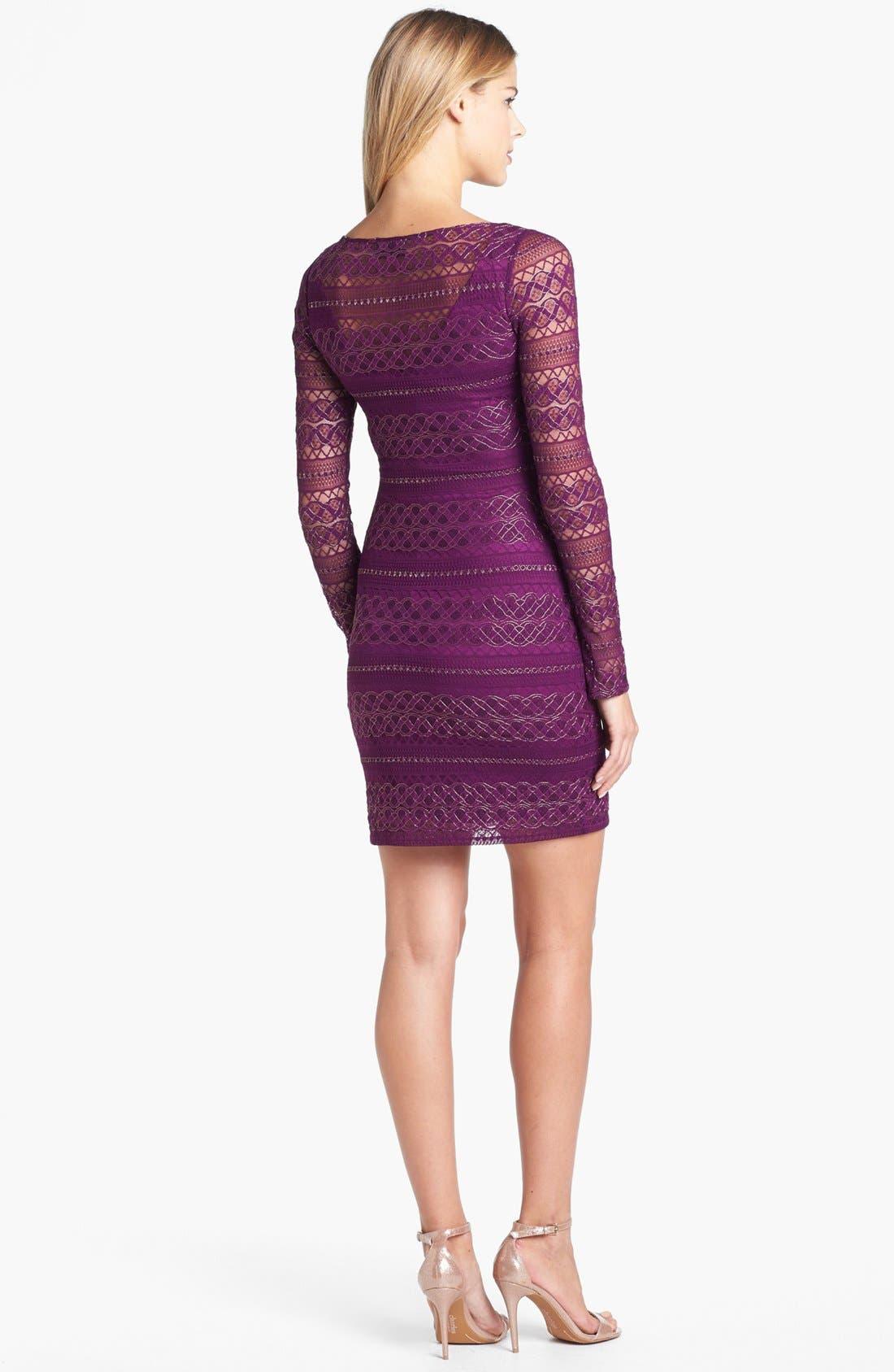 Alternate Image 2  - GUESS Metallic Lace Knit Sheath Dress