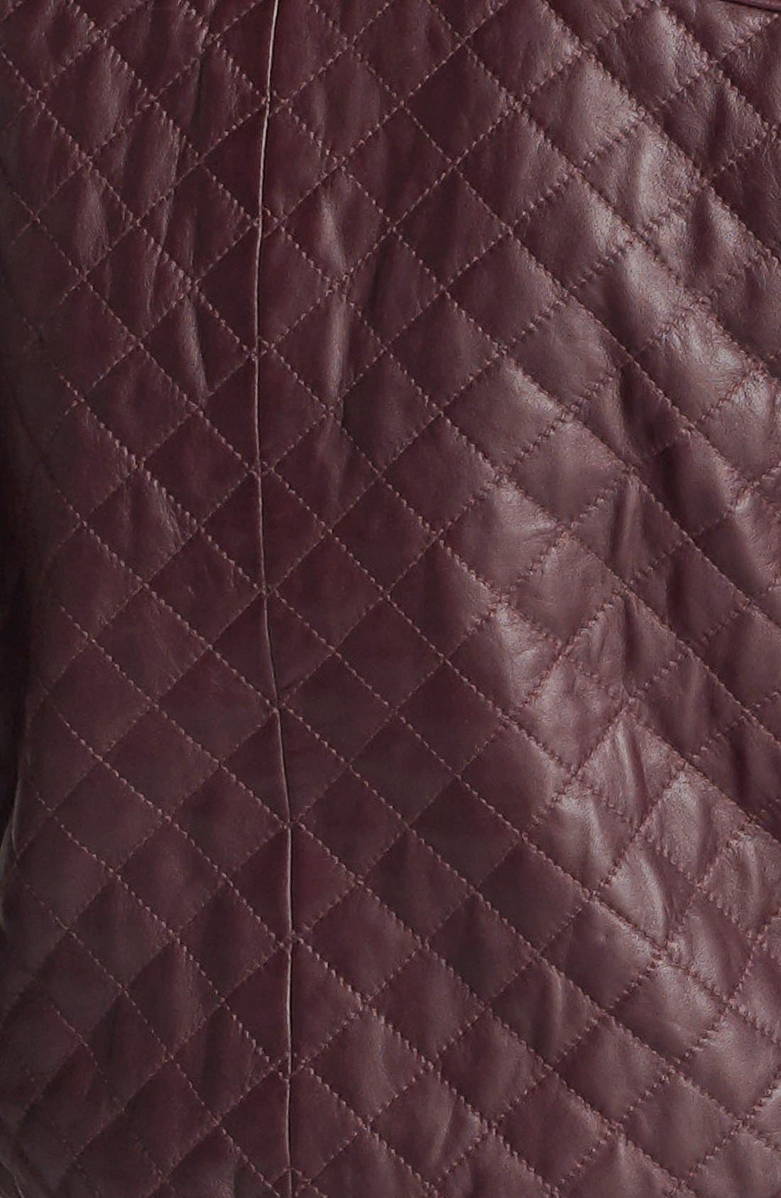 Alternate Image 5  - Halogen® Quilted Leather Bomber Jacket
