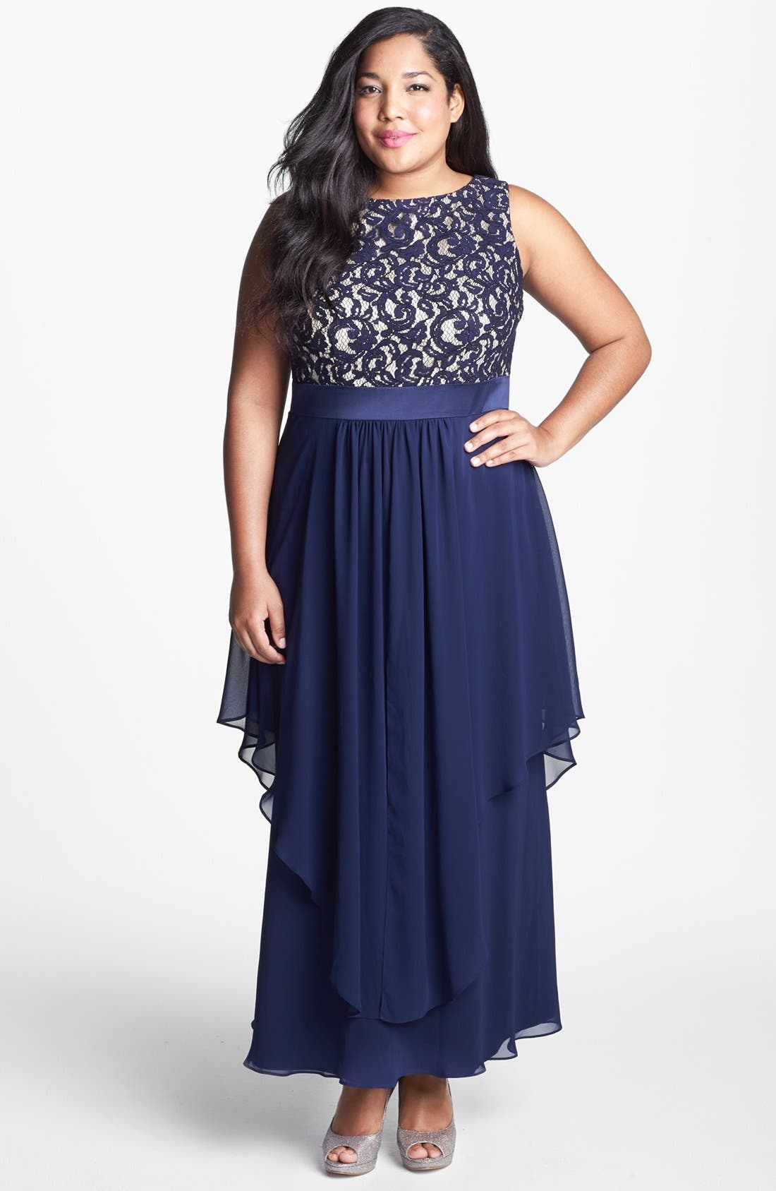 Alternate Image 1 Selected - Eliza J Lace & Chiffon Gown (Plus Size)