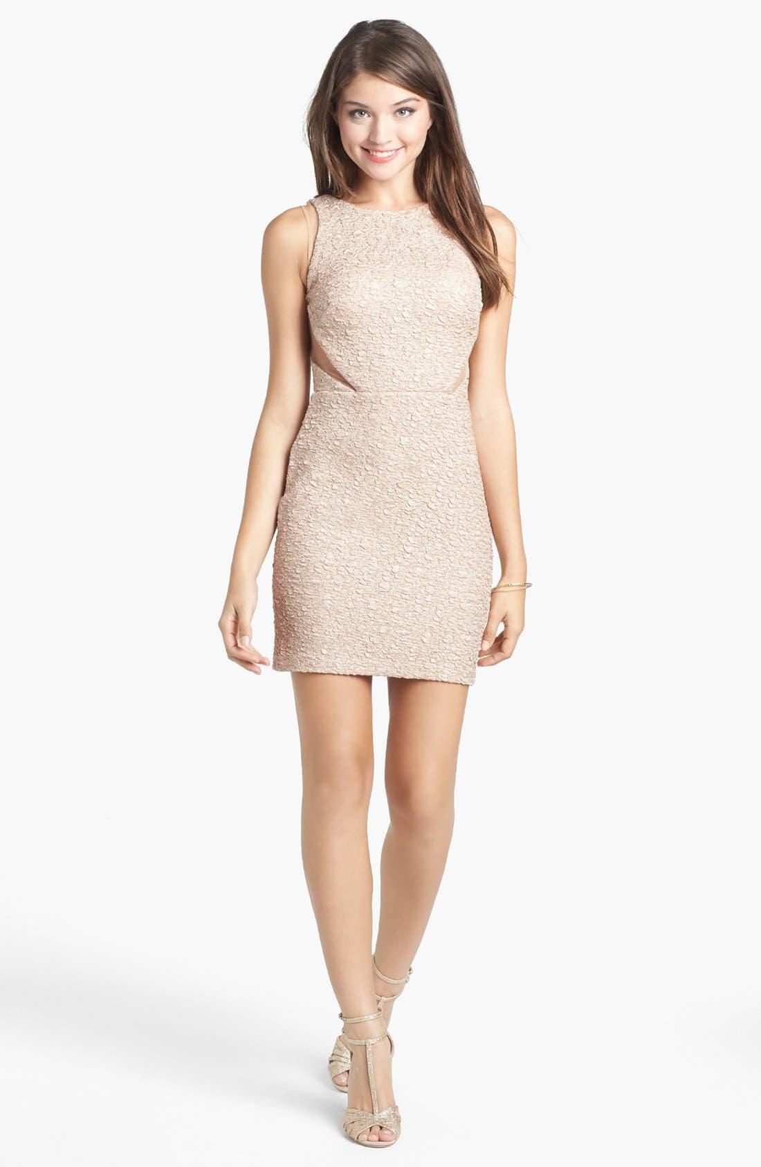 Alternate Image 1 Selected - Hailey Logan Illusion Panel Textured Body-Con Dress (Juniors)