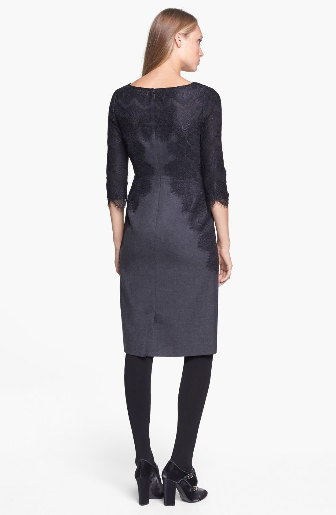 Alternate Image 2  - Tory Burch 'Laney' Lace & Stretch Wool Sheath Dress