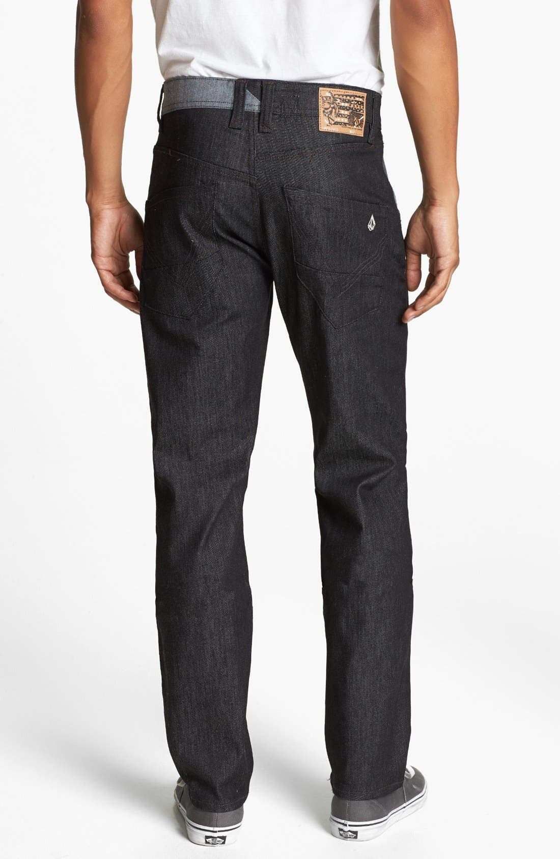 Alternate Image 1 Selected - Volcom 'Nova' Straight Leg Jeans (Dark Black Rinse)