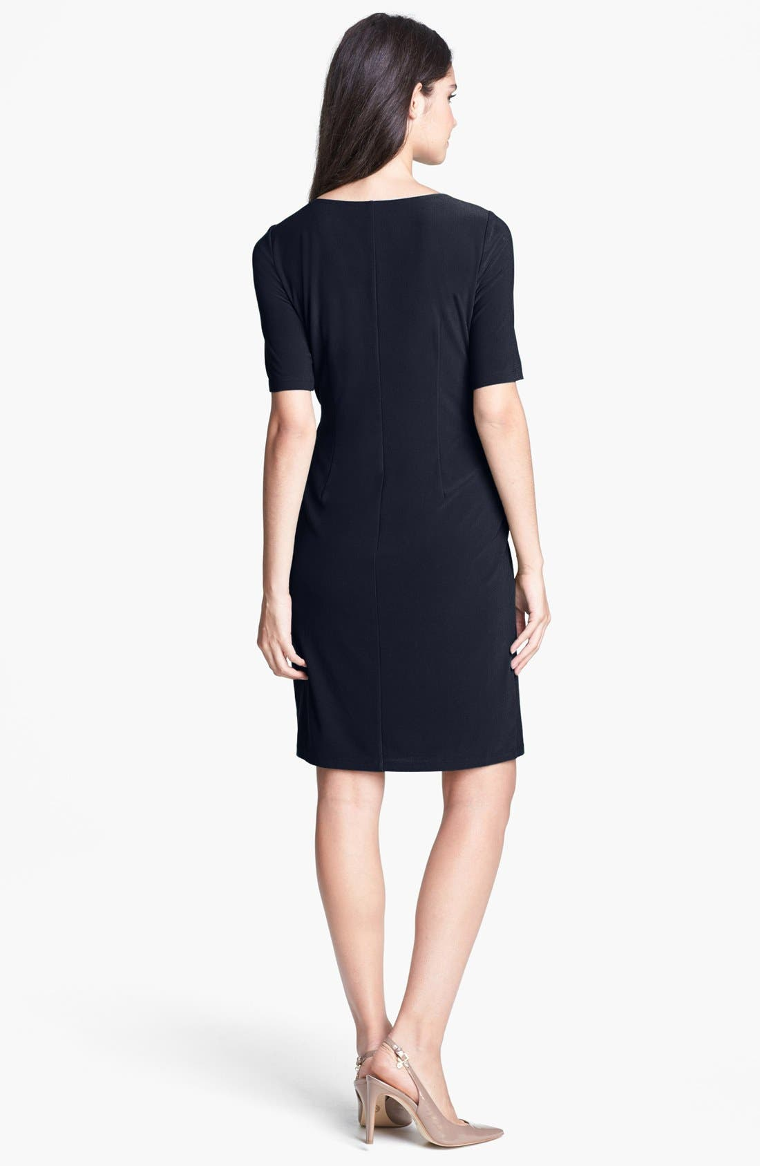 Alternate Image 2  - Ellen Tracy Side Tab Crepe Sheath Dress