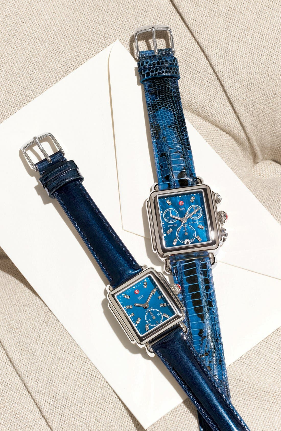 Main Image - MICHELE 'Deco 16' Diamond Dial Watch Case & 16mm Navy Patent Leather Strap