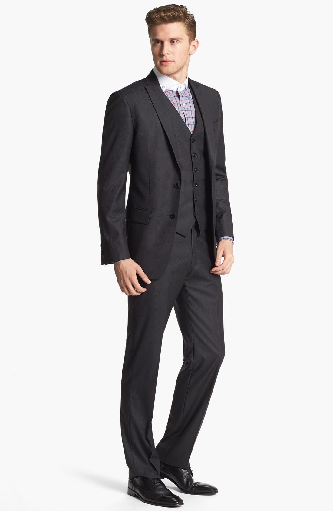 Main Image - John Varvatos Star USA Trim Fit Three-Piece Wool Suit
