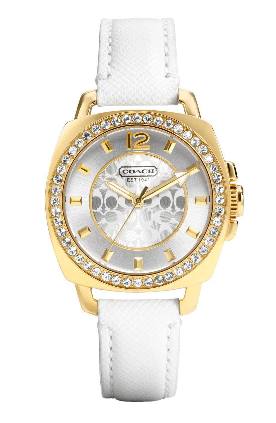 Main Image - COACH 'Boyfriend' Crystal Bezel Leather Strap Watch, 40mm